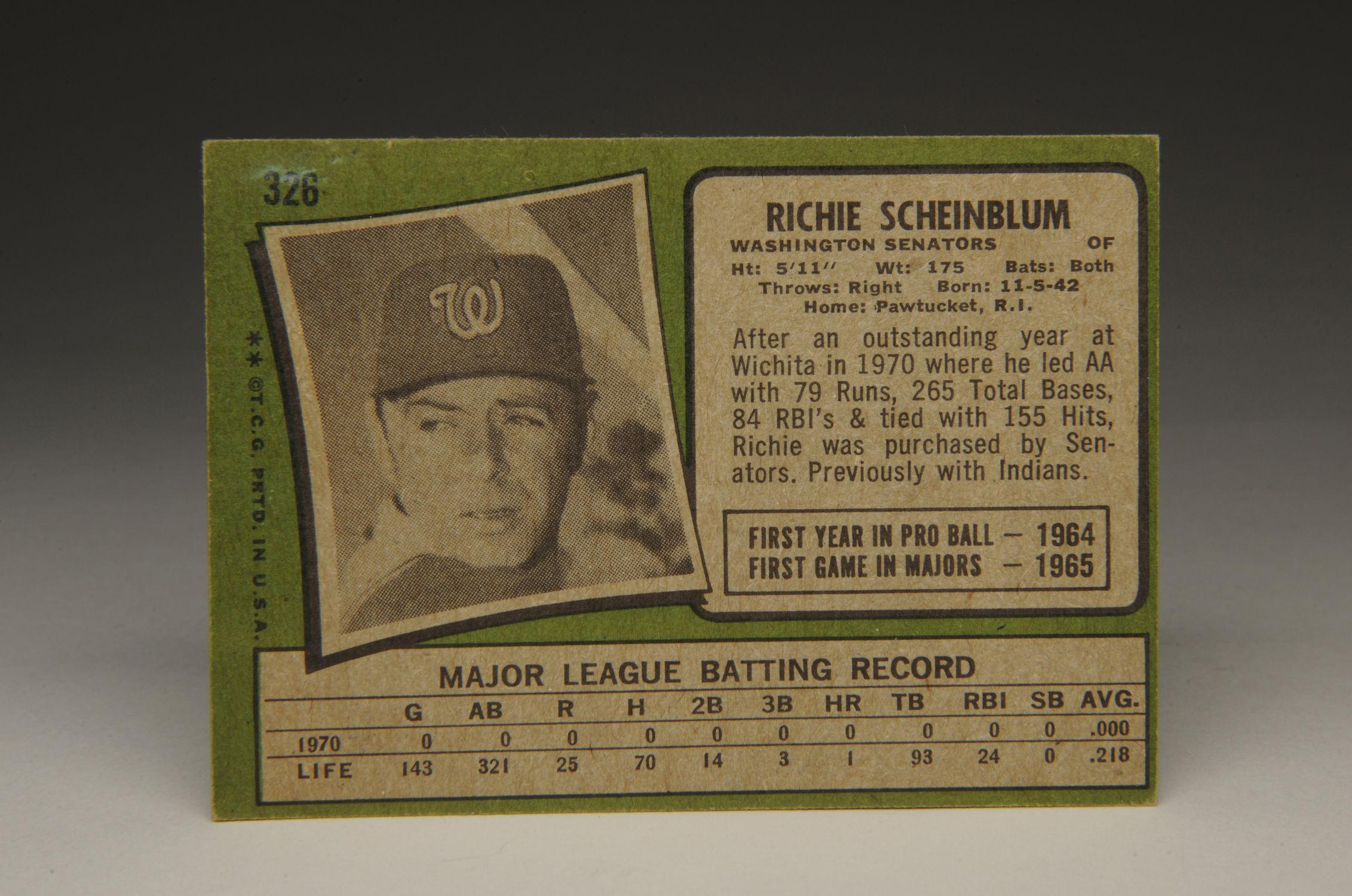 Cardcorner 1971 Topps Richie Scheinblum Baseball Hall Of Fame