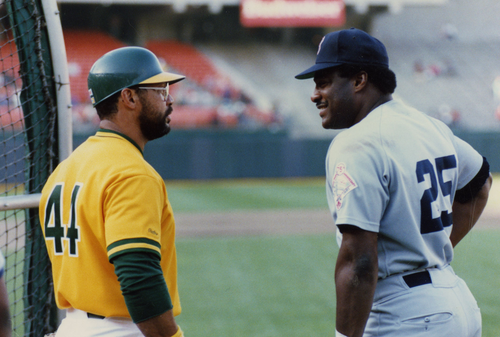 e6eba884b9b3 Reggie Jackson, shown here chatting with Don Baylor, returned to the Oakland  A's for his 21st-and-final big league season in 1987. Jackson played his  first ...