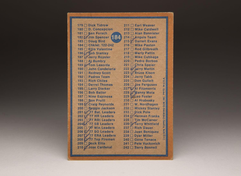 Cardcorner 1978 Topps Checklist Baseball Hall Of Fame