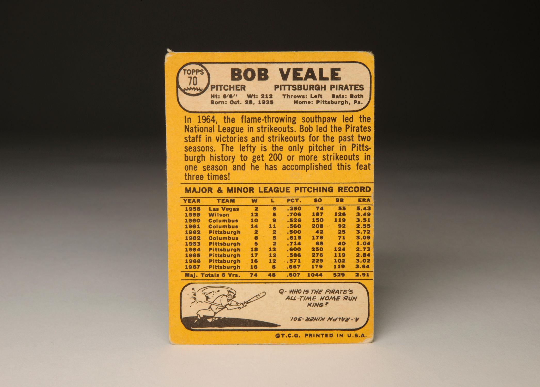CardCorner: 1968 Topps Bob Veale | Baseball Hall of Fame