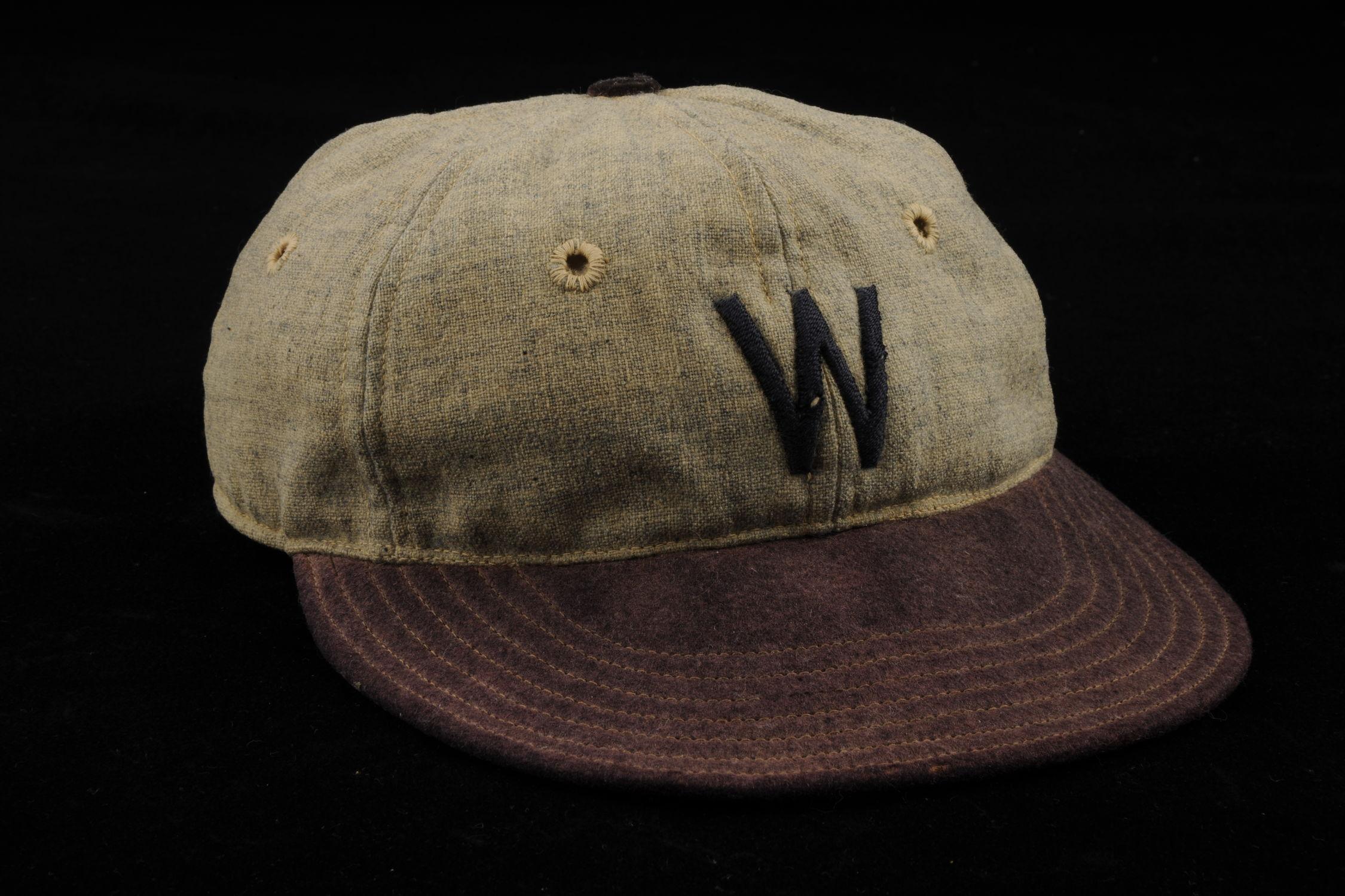 4ba431bdc3d8c Cap worn by Walter Johnson of the Washington Senators - B-215-39 (Milo  Stewart Jr./National Baseball Hall of Fame Library)