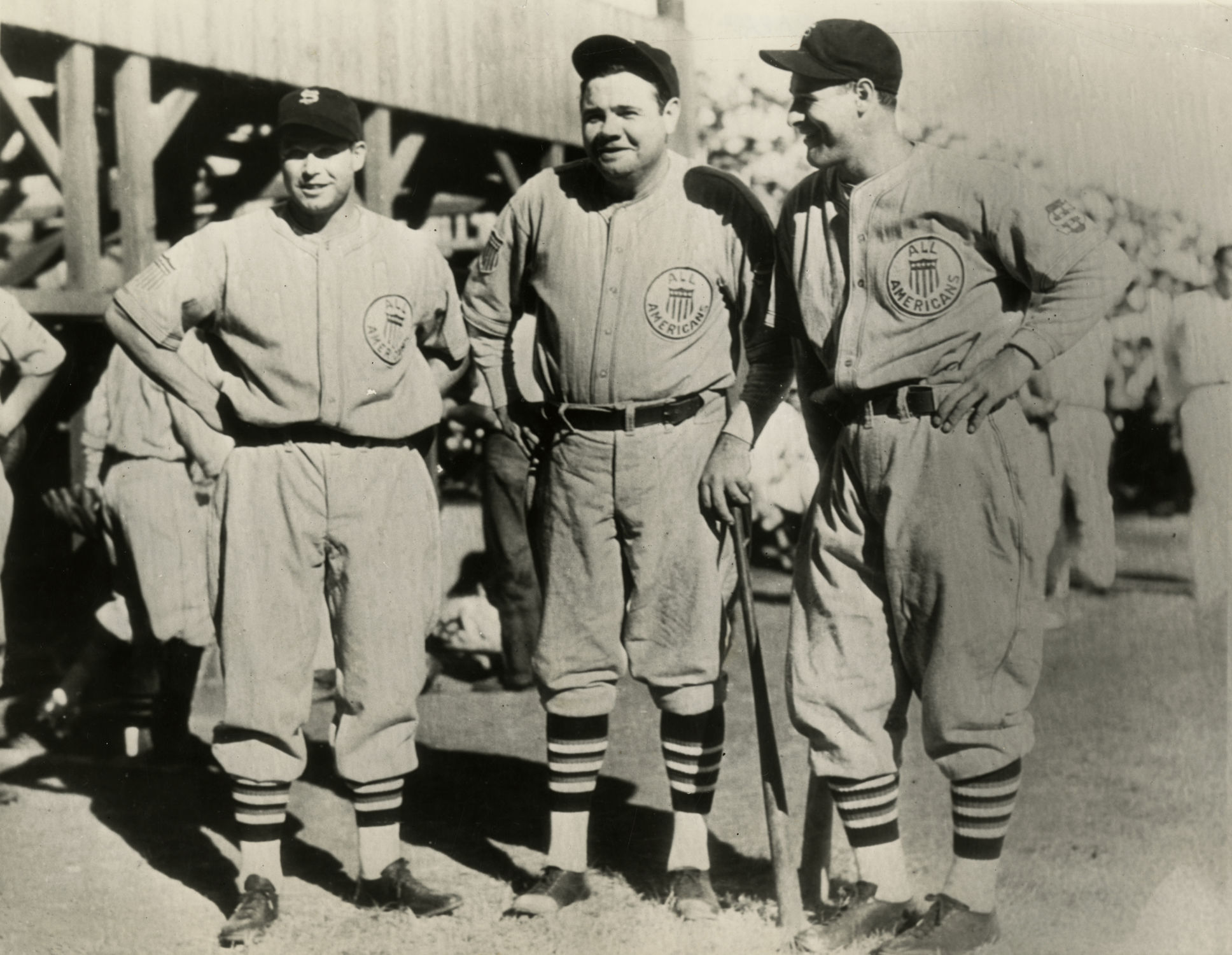 Jimmie Foxx, Babe Ruth, and Lou Gehrig joined other American League players  to form