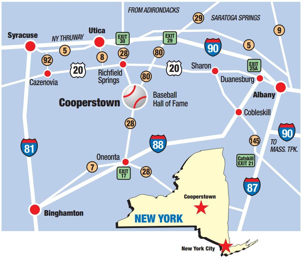 Cooperstown Ny Map Driving Directions | Baseball Hall of Fame