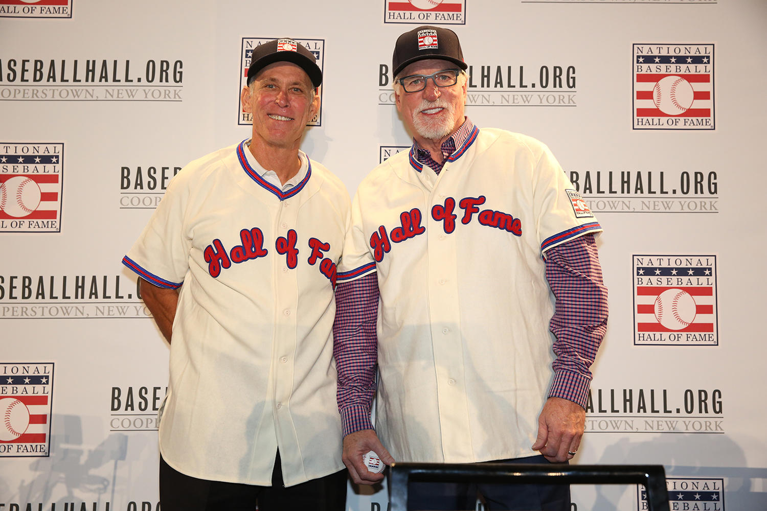 Alan Trammell and Jack Morris pose together following the Modern Baseball Era electee press conference. (Alex Trautwig/MLB Photos)