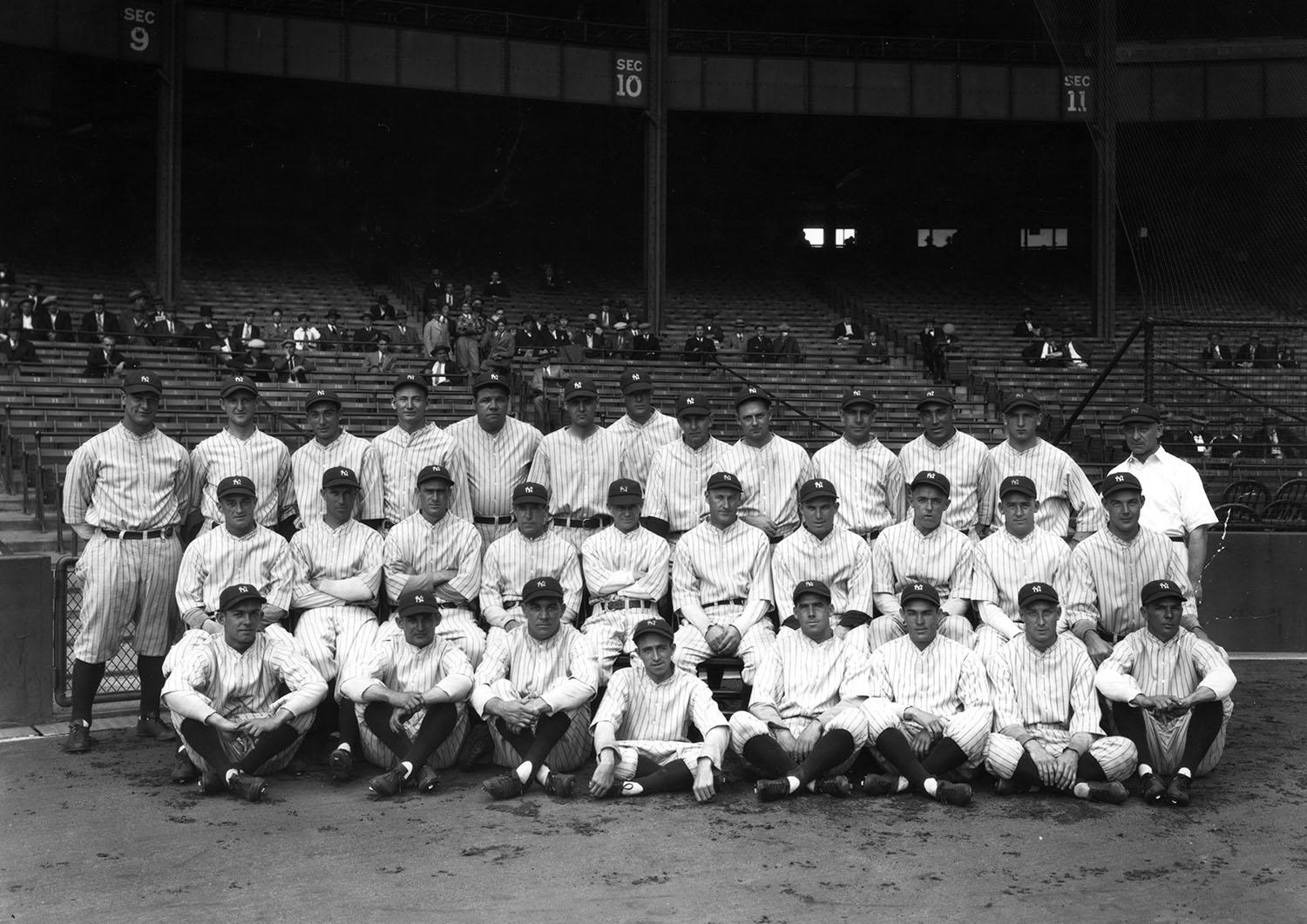 The 1927 Yankees, with its Murderers' Row lineup, featured multiple Hall of Famers and won the 1927 World Series with a sweep of the Pittsburgh Pirates. (National Baseball Hall of Fame)