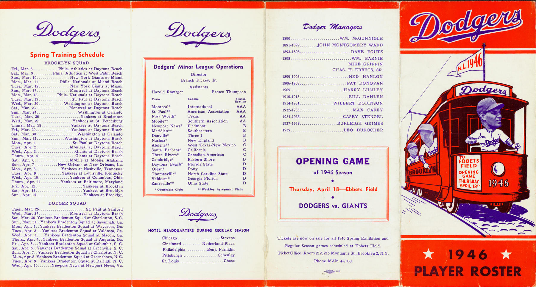 1946 Brooklyn Dodger Spring Training roster. (National Baseball Hall of Fame Library)