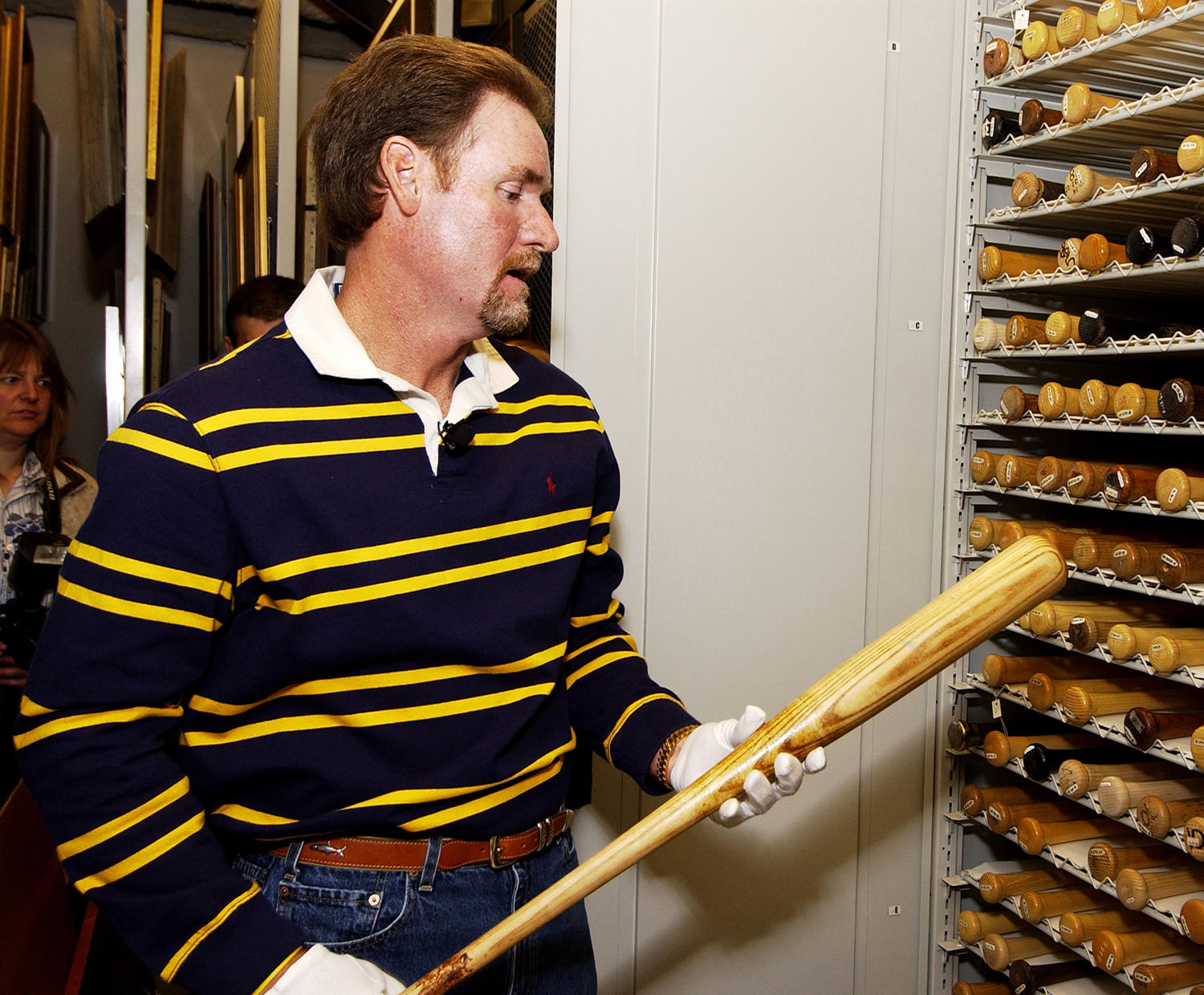 Wade Boggs holds the bat he used to hit the first home run in Tampa Bay Devil Rays history in 1998 while on his Hall of Fame Orientation Visit in May of 2005. (Milo Stewart Jr. / National Baseball Hall of Fame)