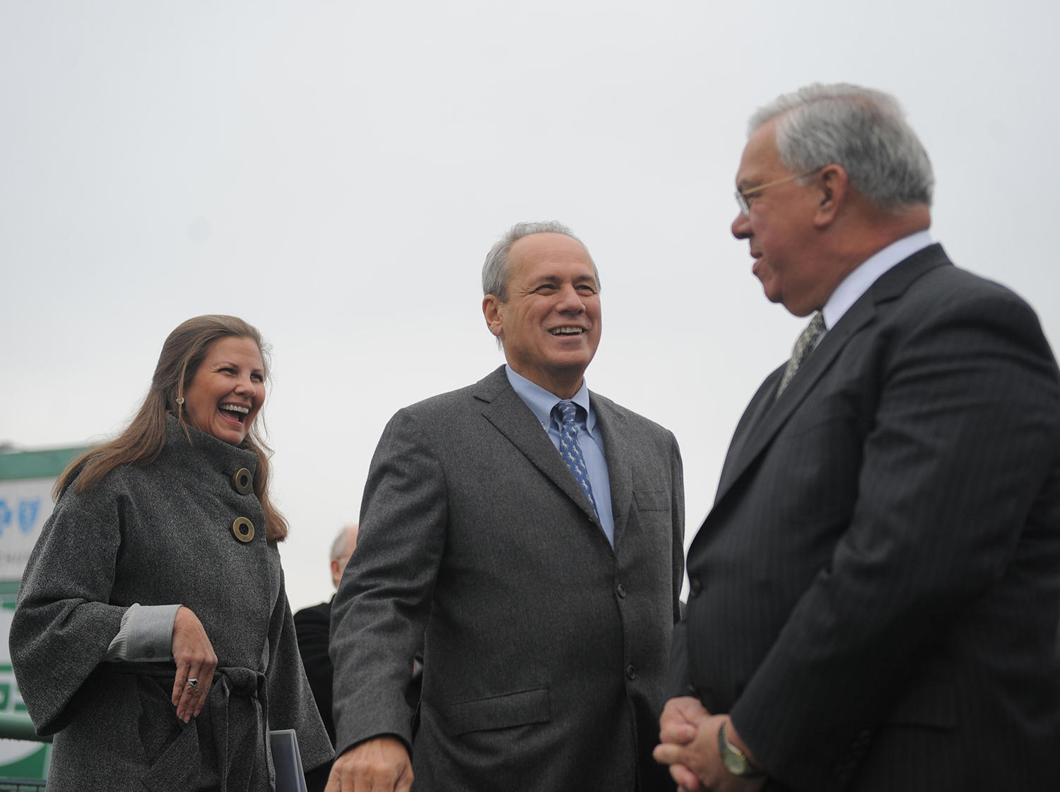 "Boston Mayor Thomas Menino (right) conducts his annual walkthrough of Fenway Park to see the ""Year VIII Improvements"" with CEO Larry Lucchino (center) and Janet Marie Smith (left). (Photo by Michael Ivins/Boston Red Sox)"