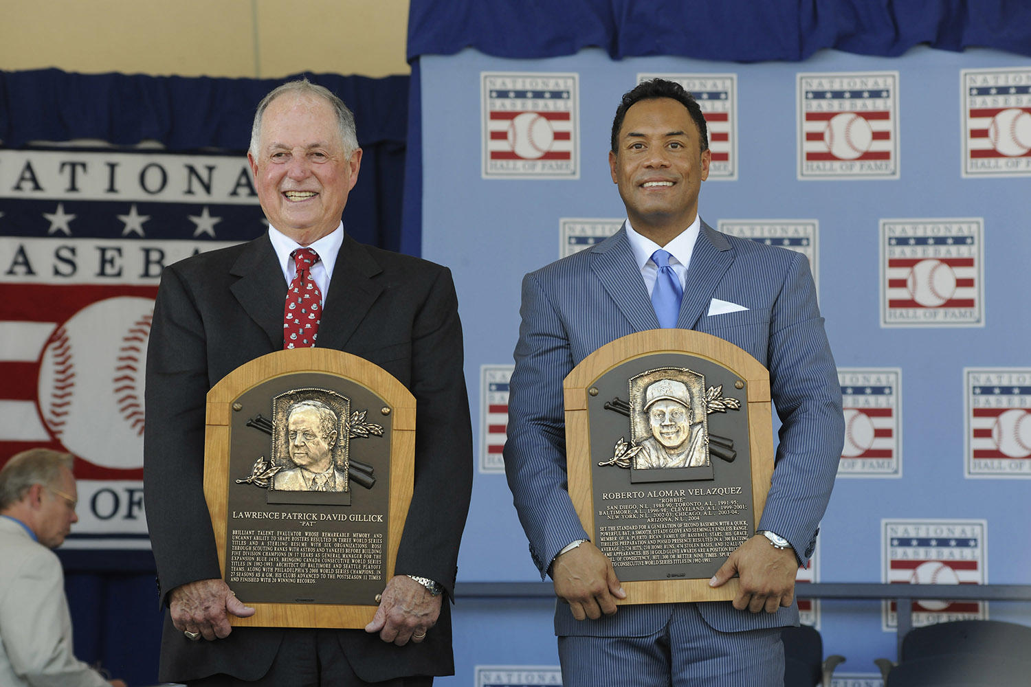 Roberto Alomar (right) would be inducted into the Hall of Fame Class of 2011 with Pat Gillick (left), who brought Alomar to both Toronto and Baltimore. (Milo Stewart Jr. / National Baseball Hall of Fame)