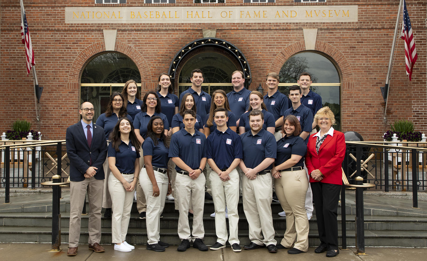 The Steele Intern Class of 2019 at the Hall of Fame includes: Back row, from left: Janey Murray, Kristina Abicca, Jerry Goosenberg, Matthew Carter, Garrett Allen, Patrick LaBella. Middle row, from left: Mickey Lanning, Presley Favre, Sara Bennett, Jenna Guenther, Erin Carmody, Anthony DeSimone. Front row, from left: Hall of Fame Vice President of Communications and Education Jon Shestakofsky, Leah Buhagiar, Kallan Jackson, Michael Belmont, Eric St. Peter, John Sullivan, Rachel Kingham, Program Founder Peggy Steele. (Milo Stewart Jr./National Baseball Hall of Fame and Museum)