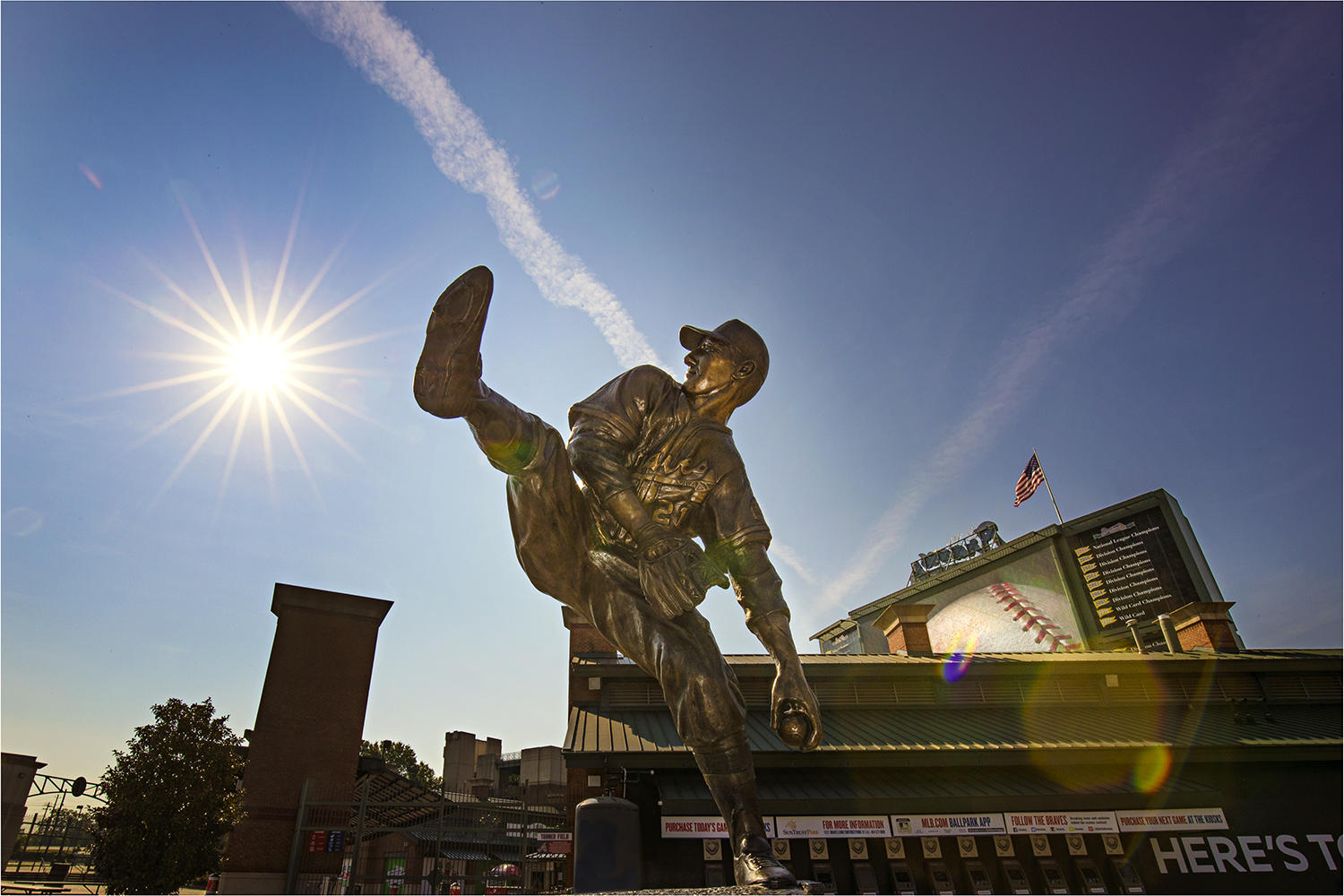 This statue of Hall of Famer Warren Spahn, stands inside the Braves' Turner Field in Atlanta, Georgia. (Jean Fruth / National Baseball Hall of Fame)
