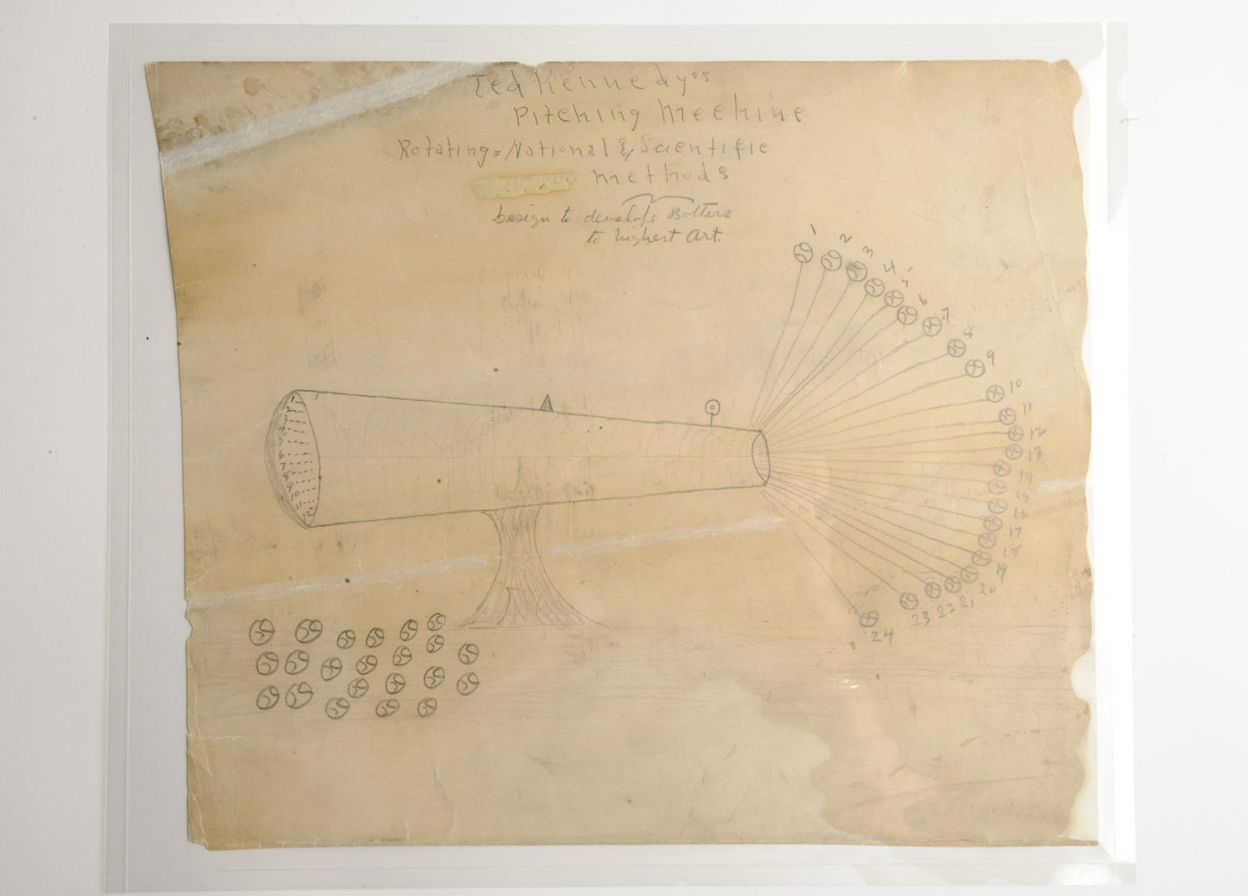 Drawing of Kennedy's pitching machine. (Milo Stewart, Jr. / National Baseball Hall of Fame and Museum)