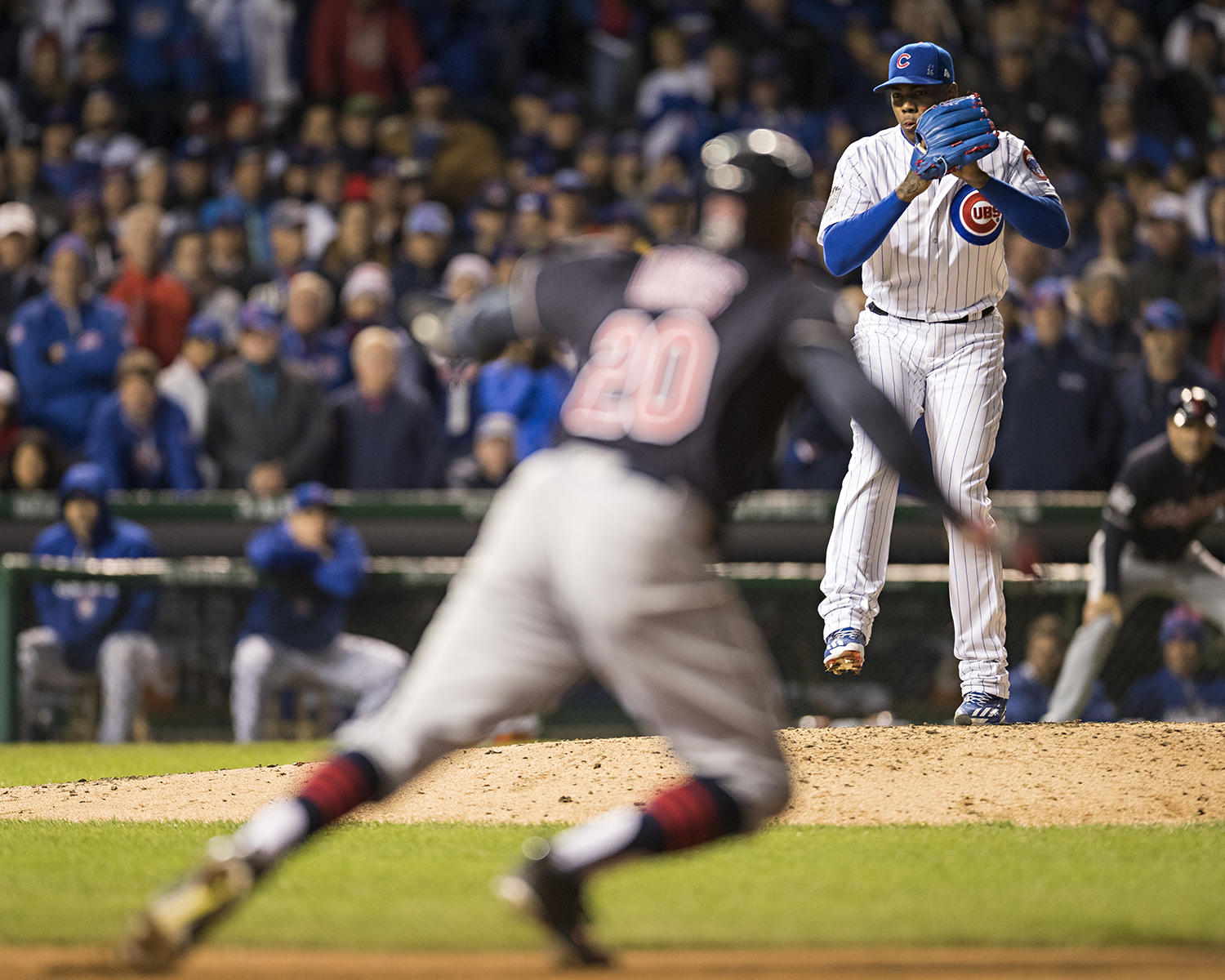 Rajai Davis of the Cleveland Indians steals second as Aroldis Chapman of the Chicago Cubs pitches during Game 5 of the 2016 World Series between the Cleveland Indians and the Chicago Cubs at Wrigley Field on October 30, 2016. (Jean Fruth / National Baseball Hall of Fame)