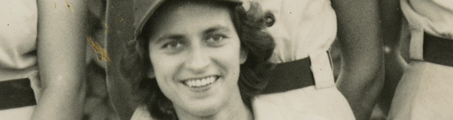 Sophie Kurys, detail from a team portrait of the Racine Belles, 1947 - BL-304-2010 (National Baseball Hall of Fame Library)