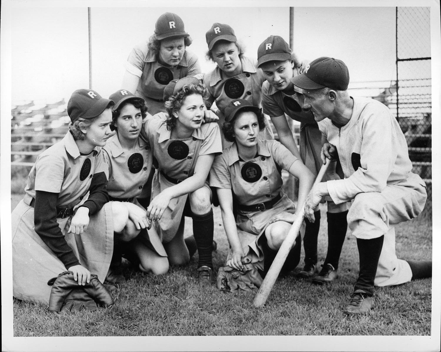"""The Rockford Peaches were one of the most famous AAGPBL teams, but in a skit entitled """"Their Own League,"""" SNL cast members Aidy Bryant, Kate McKinnon, Cecily Strong, Vanessa Bayer, Bobby Moynihan and Taran Killam offered an alternate version of the 1992 Columbia Pictures film <em>A League of Their Own</em>. (National Baseball Hall of Fame)"""