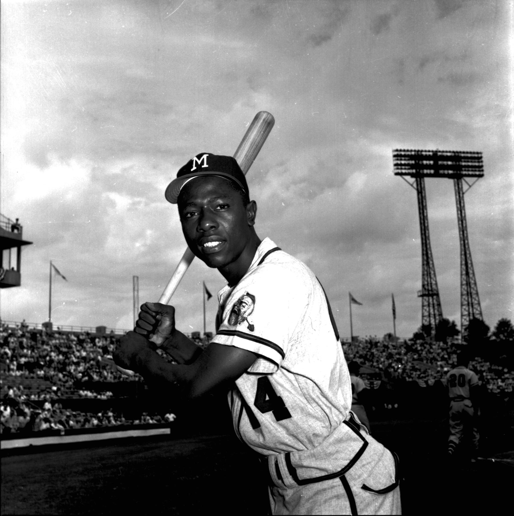 Hank Aaron of the Milwaukee Braves posed with a bat. BL-2059-69a (Don Wingfield / National Baseball Hall of Fame Library)