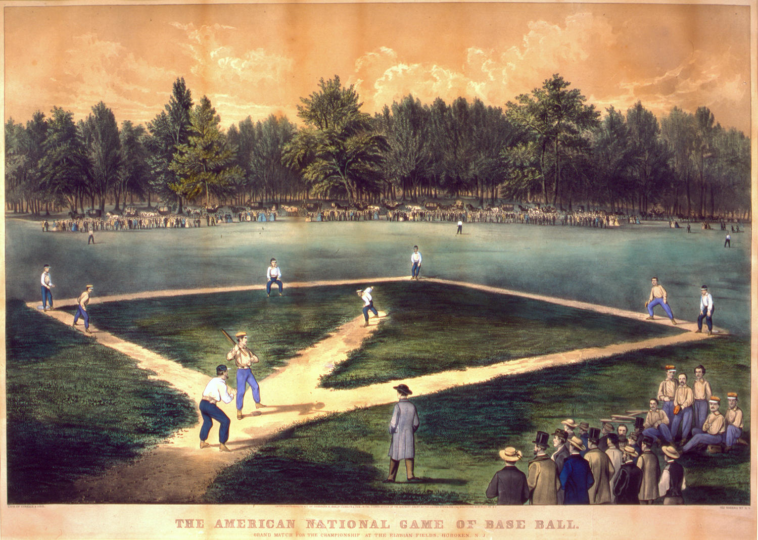 By the 1860s, Currier and Ives, among other lithograph companies, began manufacturing mass-produced prints, like this one of Elysian Fields, that used baseball as a major theme. This paved the way for the emergence of cartoons in the 1870s. (National Baseball Hall of Fame)