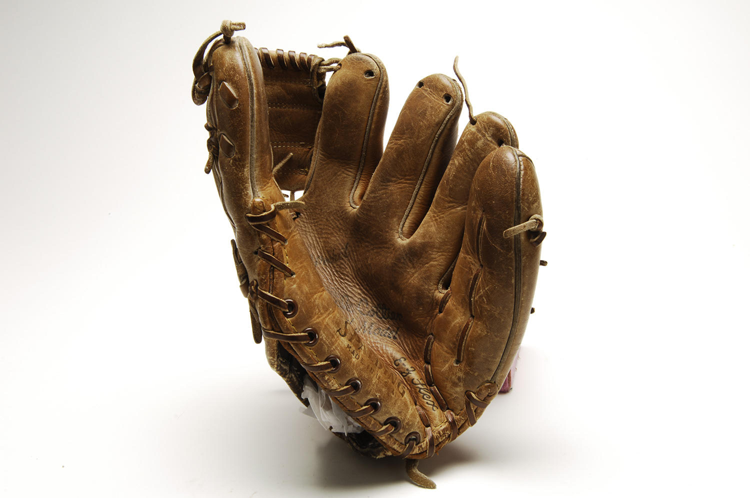 This glove, used during Ken Hubbs' 74th consecutive errorless game on Sept. 2, 1962, is currently preserved at the Hall of Fame. (By Photographer Milo Stewart Jr./National Baseball Hall of Fame and Museum)
