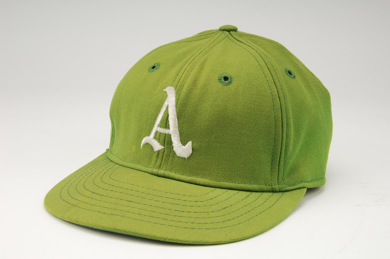 """Hall of Famer Catfish Hunter wore this cap on May 8, 1968 when he threw a perfect game for the Oakland Athletics. <a href=""""https://collection.baseballhall.org/PASTIME/catfish-hunter-perfect-game-cap-1968-may-08-11"""">PASTIME</a> (Milo Stewart Jr./National Baseball Hall of Fame and Museum)"""