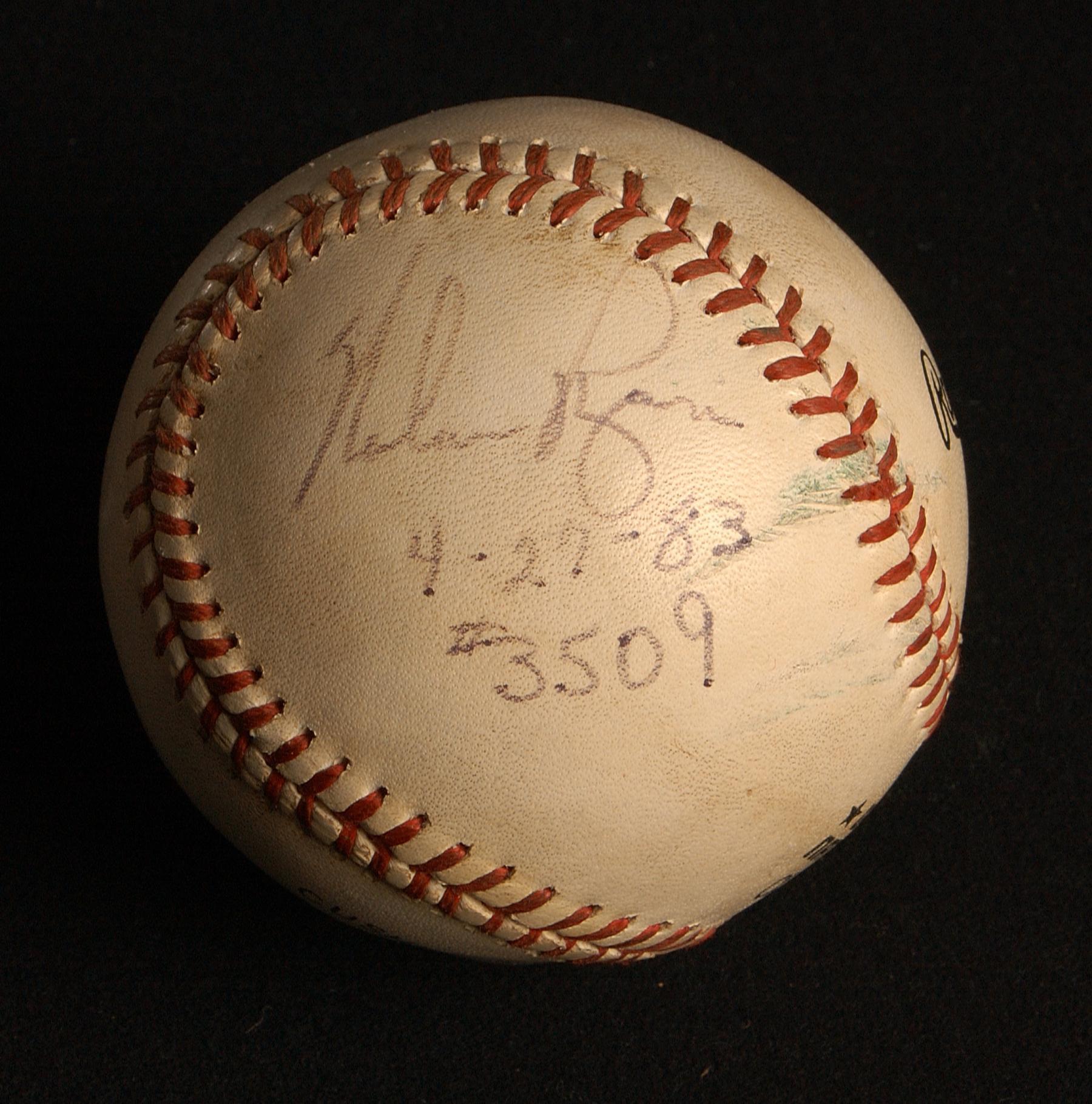 Baseball from Nolan Ryan's 3,509th career strikeout. B-145-83 (Milo Stewart Jr. / National Baseball Hall of Fame)