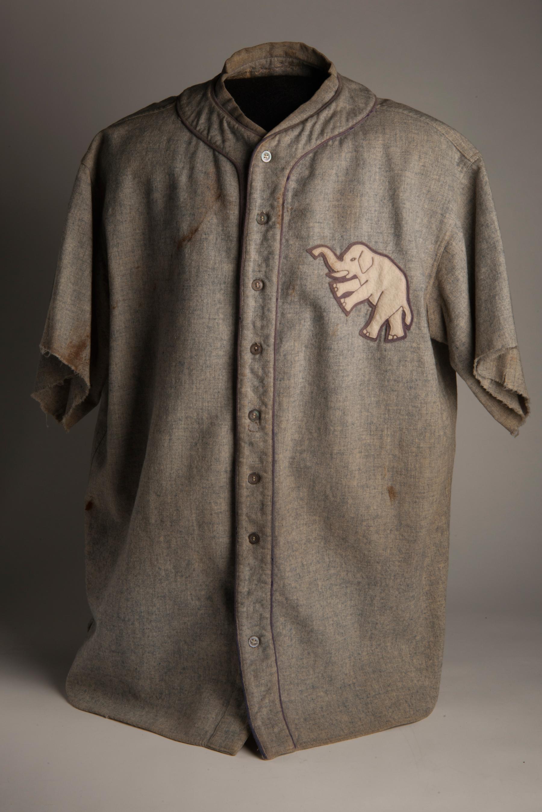 Philadelphia A's uniform shirt worn by Ty Cobb in 1927. B-204-61 (Milo Stewart Jr. / National Baseball Hall of Fame)