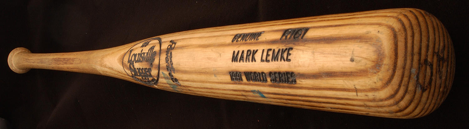 """Mark Lemke, of the Atlanta Braves, used this bat to hit three triples through seven World Series games in 1991, a major league record. <a href=""""http://collection.baseballhall.org/islandora/object/islandora%3A262578"""">PASTIME</a> (Milo Stewart Jr. / National Baseball Hall of Fame)"""