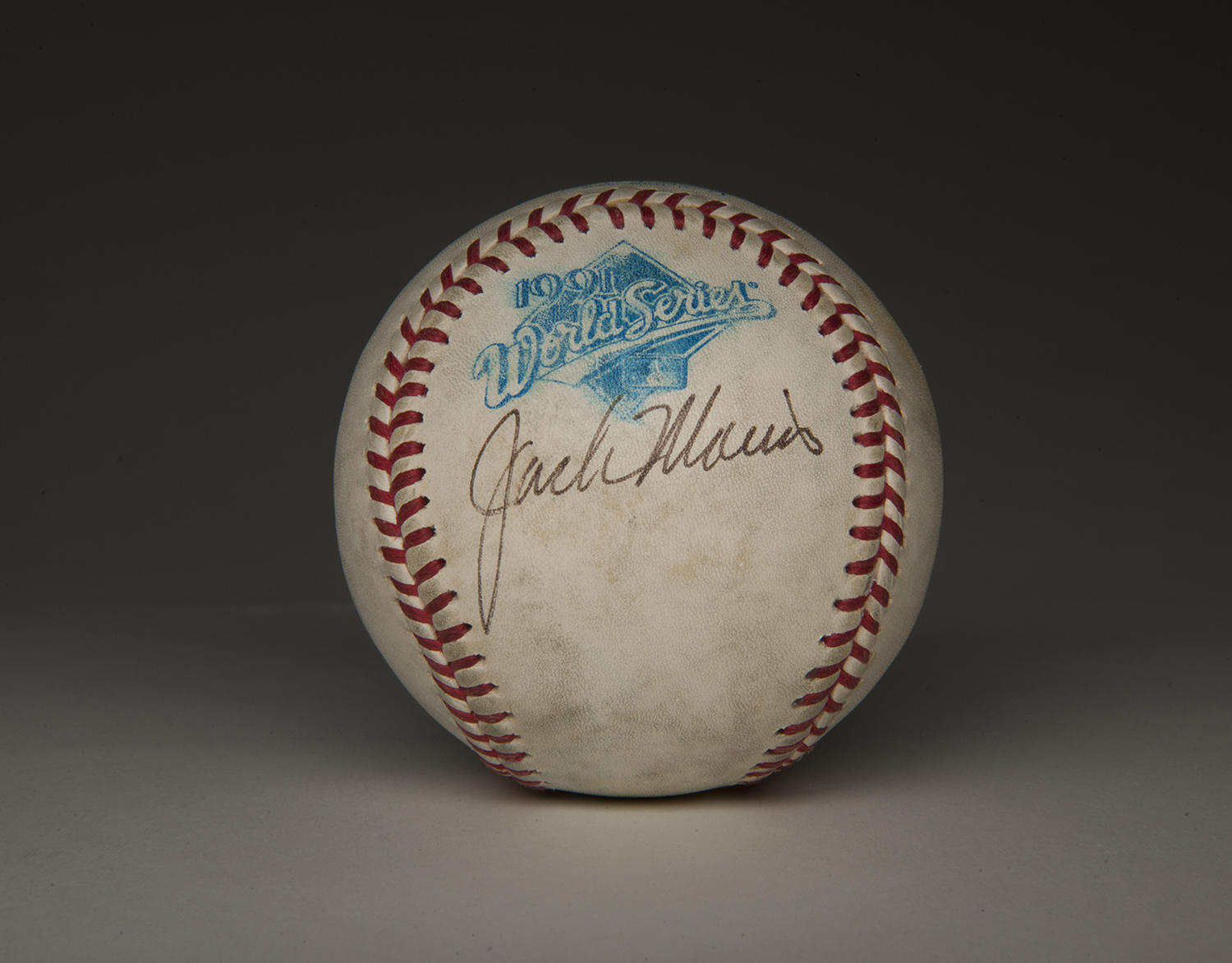 """Jack Morris pitched 10 shutout innings in Game 7 of the 1991 World Series. He signed this game-used baseball following the victory that gave the Twins the championship. <a href=""""http://collection.baseballhall.org/islandora/object/islandora%3A262563"""">PASTIME</a>  (Milo Stewart Jr. / National Baseball Hall of Fame)"""