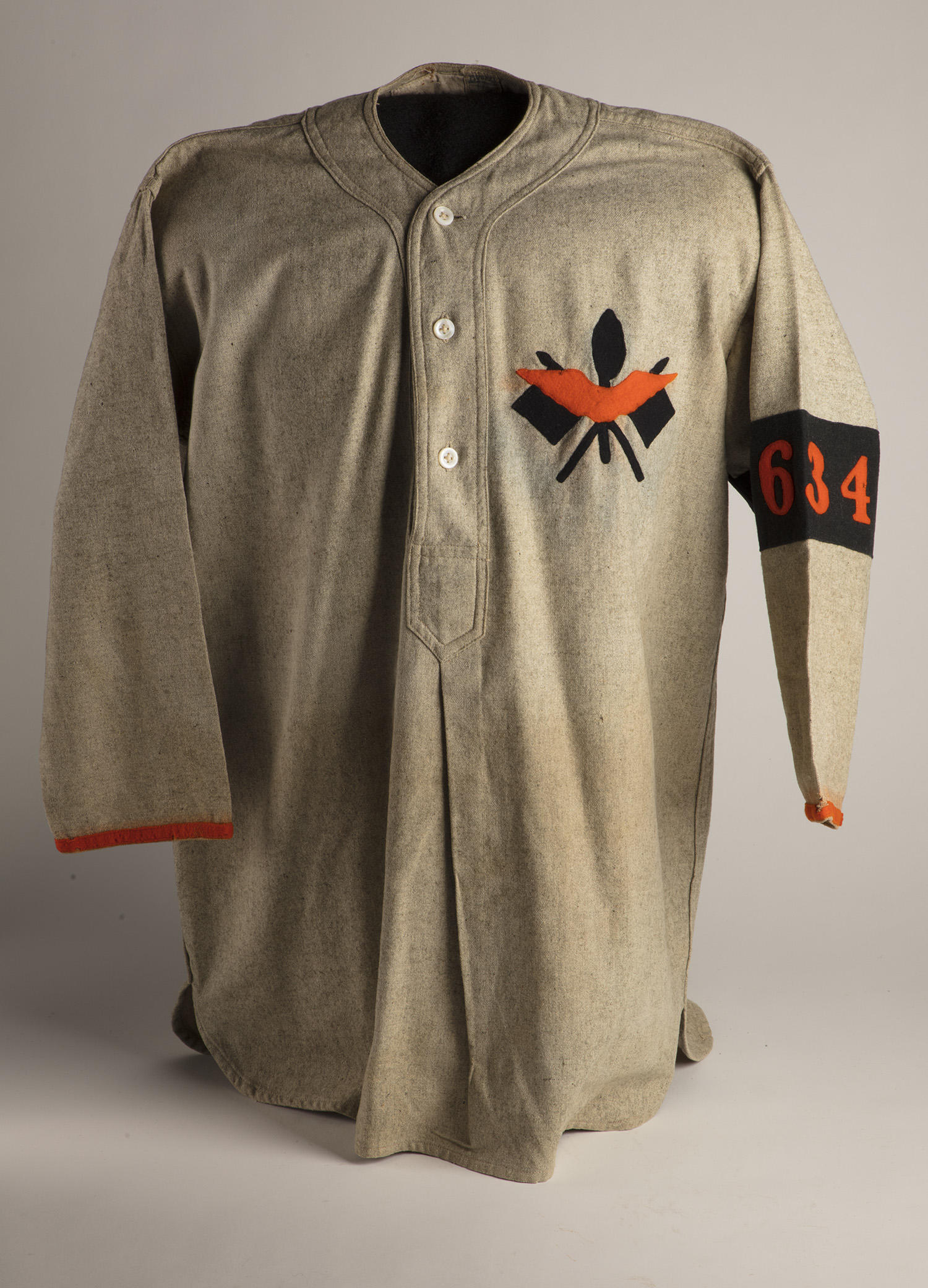 """This well-preserved World War I Army Signal Corps uniform was recently donated to the Hall of Fame by Ed Kaltreider, grandson of Walter Howard Kaltreider. <a href=""""https://collection.baseballhall.org/PASTIME/world-war-i-army-signal-corps-shirt-1917"""">PASTIME</a> (By Photographer Milo Stewart Jr./National Baseball Hall of Fame and Museum)"""