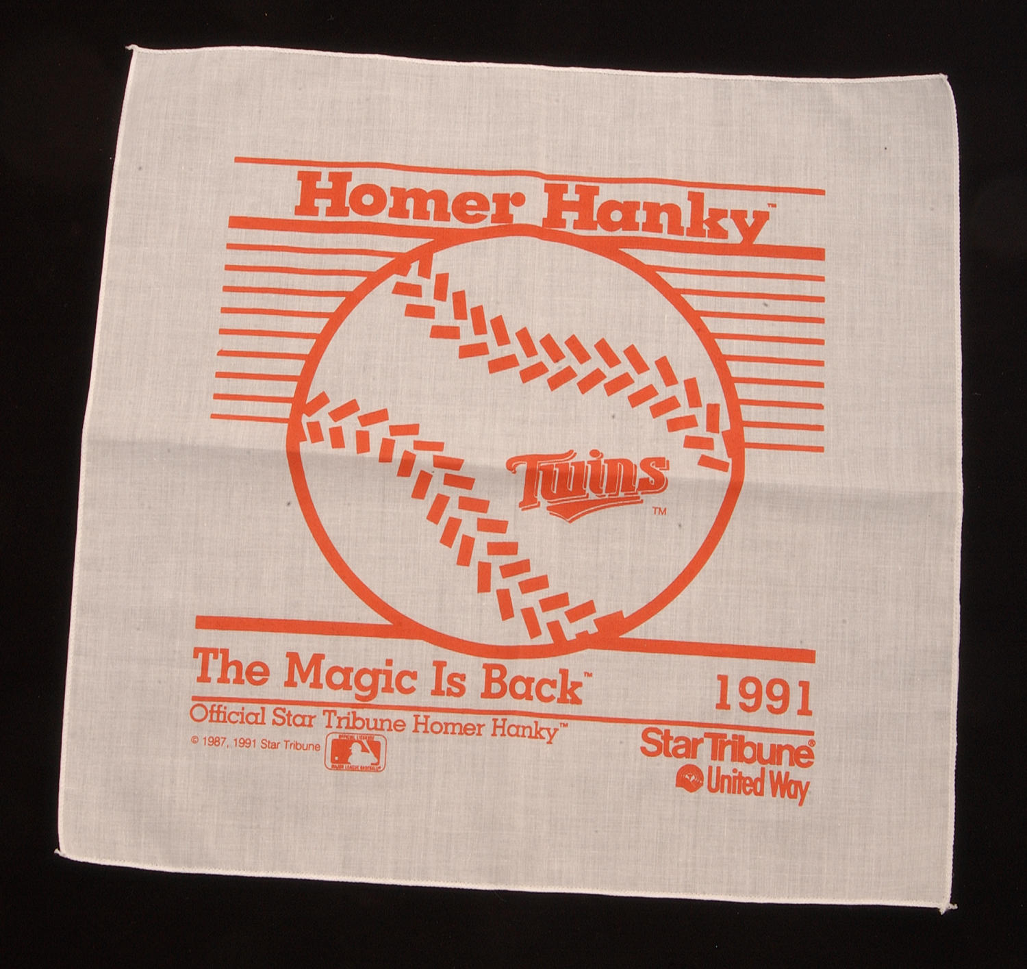 """A Minnesota Twins 'Homer Hanky', handed out by the Minneapolis Star-Tribune during the ALCS and the 1991 World Series. <a href=""""http://collection.baseballhall.org/islandora/object/islandora%3A262585"""">PASTIME</a> (Milo Stewart Jr. / National Baseball Hall of Fame)"""