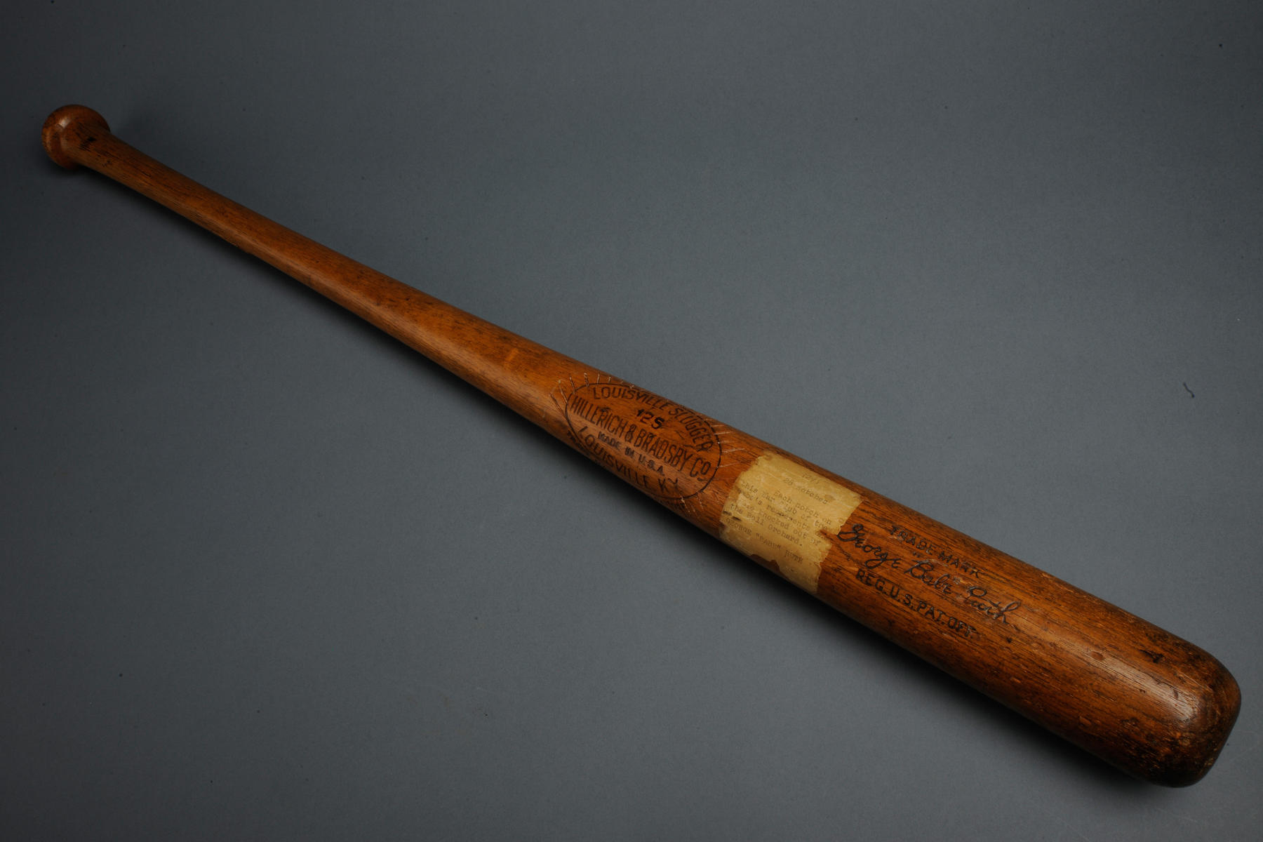 Babe Ruth's notched bat from the 1927 season. B-254-39 (Milo Stewart Jr. / National Baseball Hall of Fame)