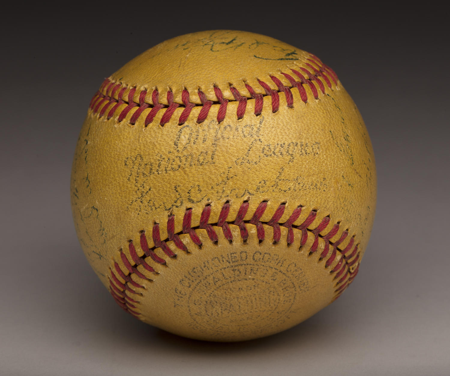 These experimental, high-visibility yellow baseballs made a noteworthy but short-lived appearance when they were used in the big leagues in the late 1930s. (By Photographer Milo Stewart Jr./National Baseball Hall of Fame and Museum)