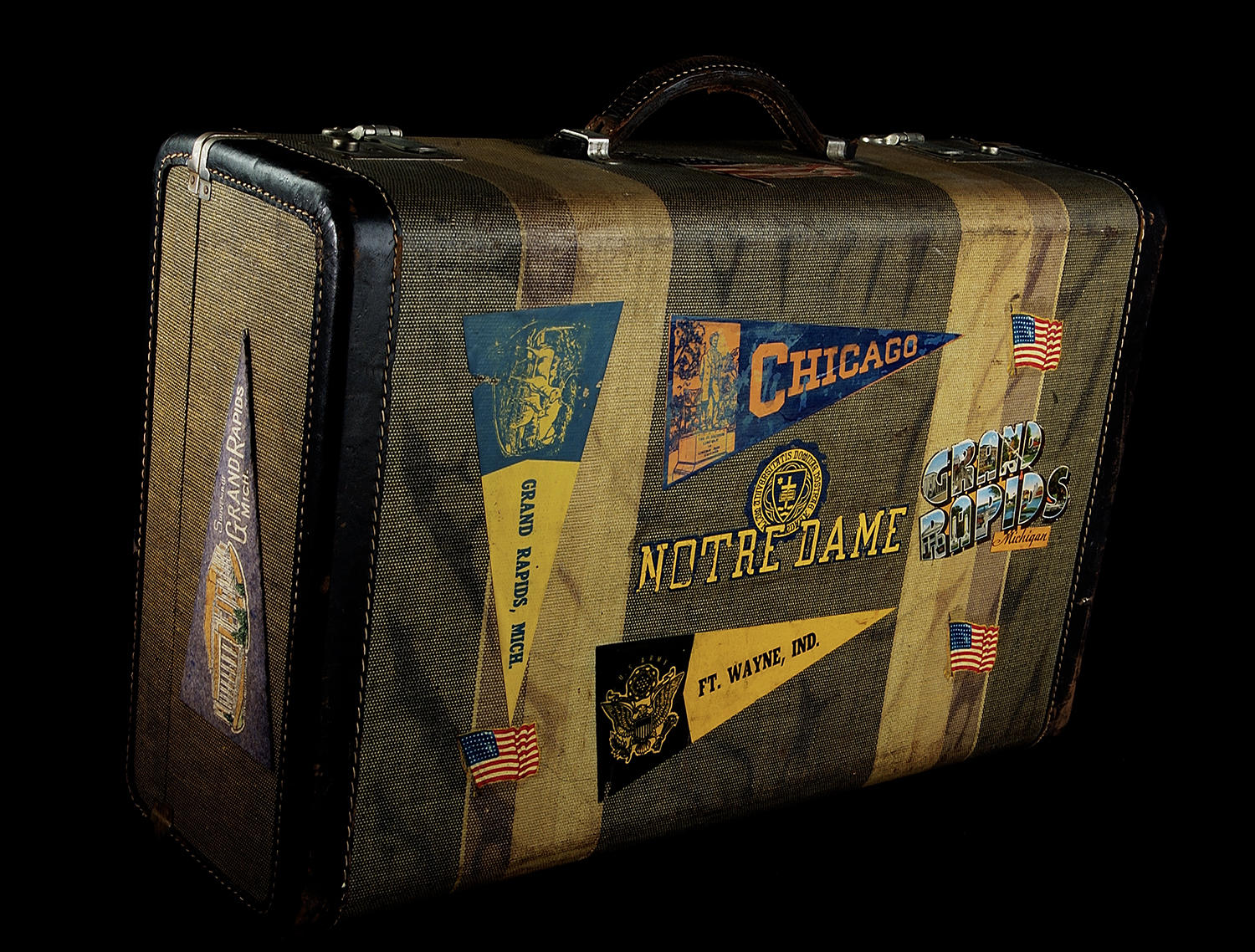 "All-American Girls Professional Baseball League player Mary Pratt documented her journey through pro baseball with decals on this suitcase that is now part of the Hall of Fame collection. <a href=""https://collection.baseballhall.org/PASTIME/mary-pratt-suitcase-1943-1947-2"">PASTIME</a> (Milo Stewart Jr. / National Baseball Hall of Fame and Museum)"