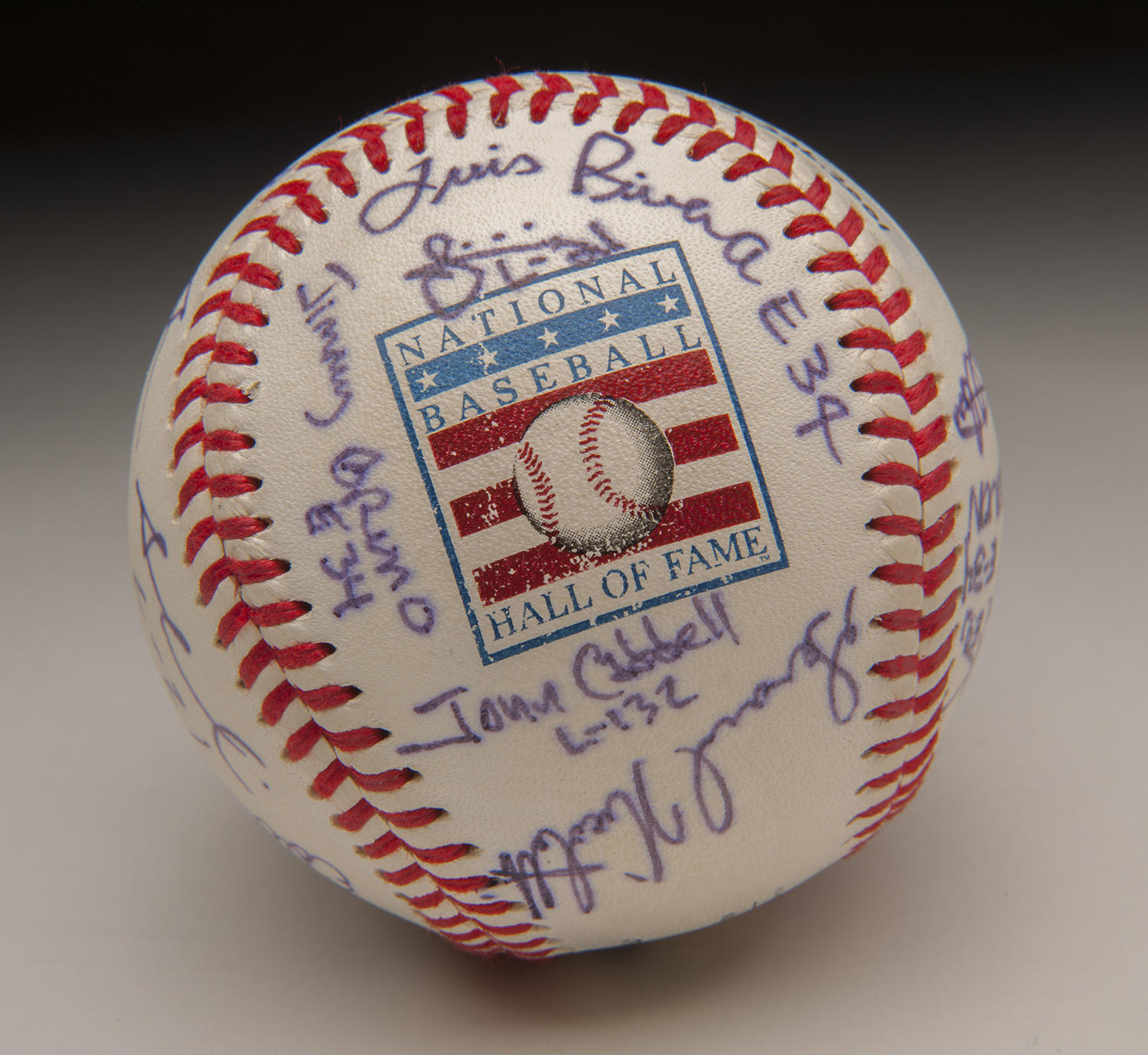 This baseball was signed by members of Station 26 in New York City's Hell's Kitchen district, who received a visit from Hall of Famers shortly after 9/11. (Milo Stewart Jr. / National Baseball Hall of Fame)
