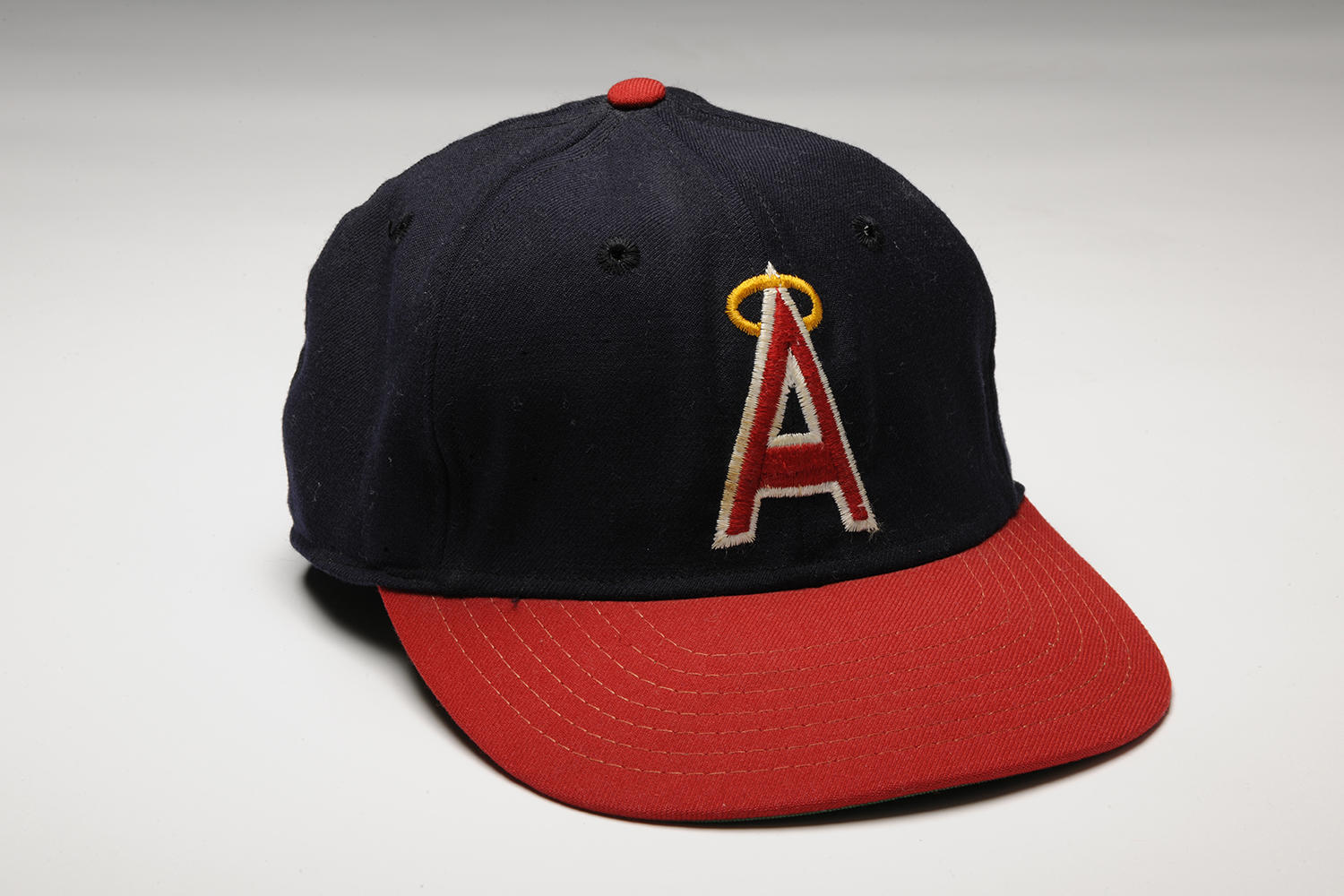 This cap, which Nolan Ryan wore while pitching his third no-hitter on Sept. 28, 1974, is part of the National Baseball Hall of Fame's collection. (Milo Stewart Jr. / National Baseball Hall of Fame)