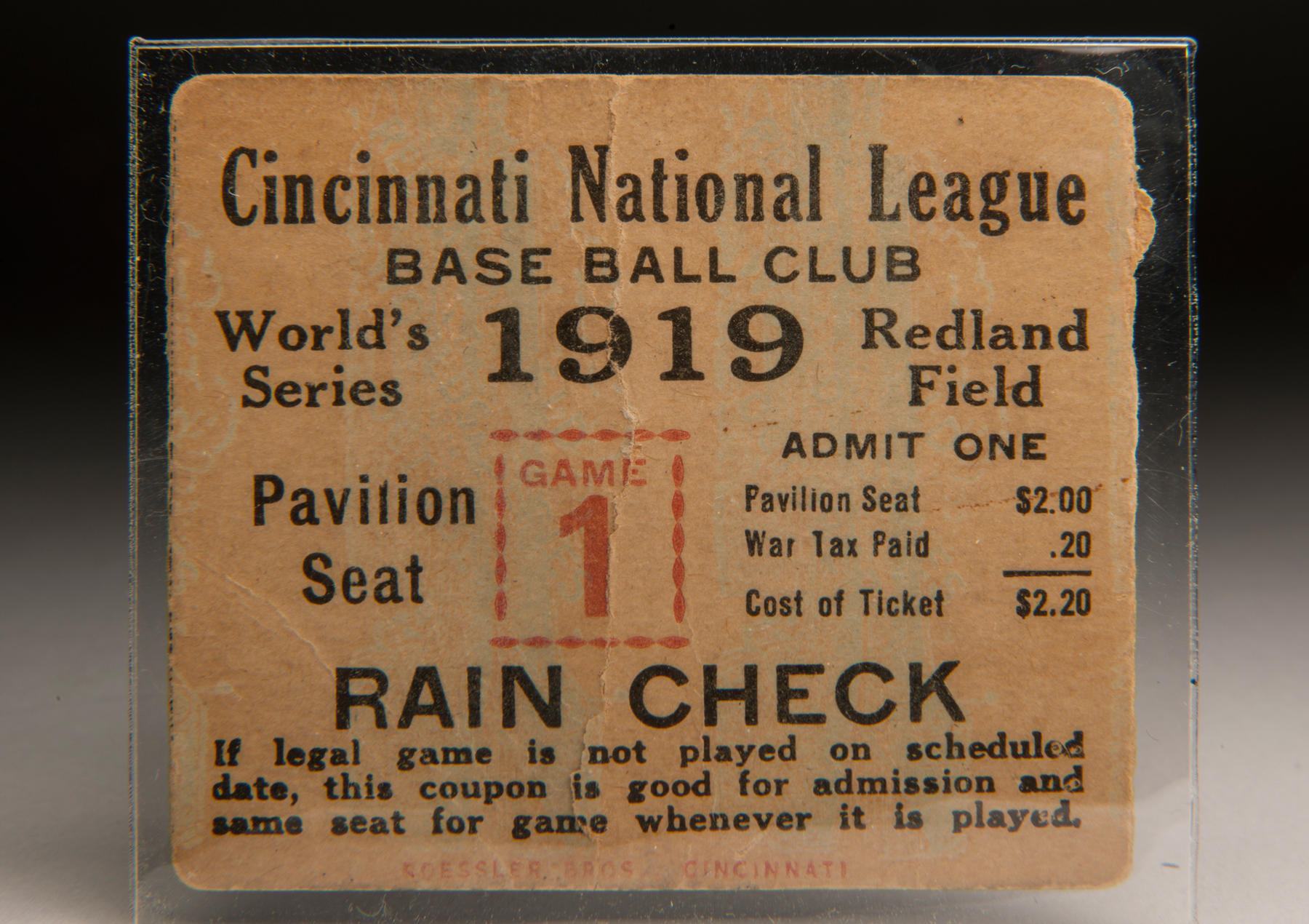 Ticket to Game 1 of the 1919 World Series, played at Redland Field. B-513-70a (Milo Stewart Jr. / National Baseball Hall of Fame Jr.)
