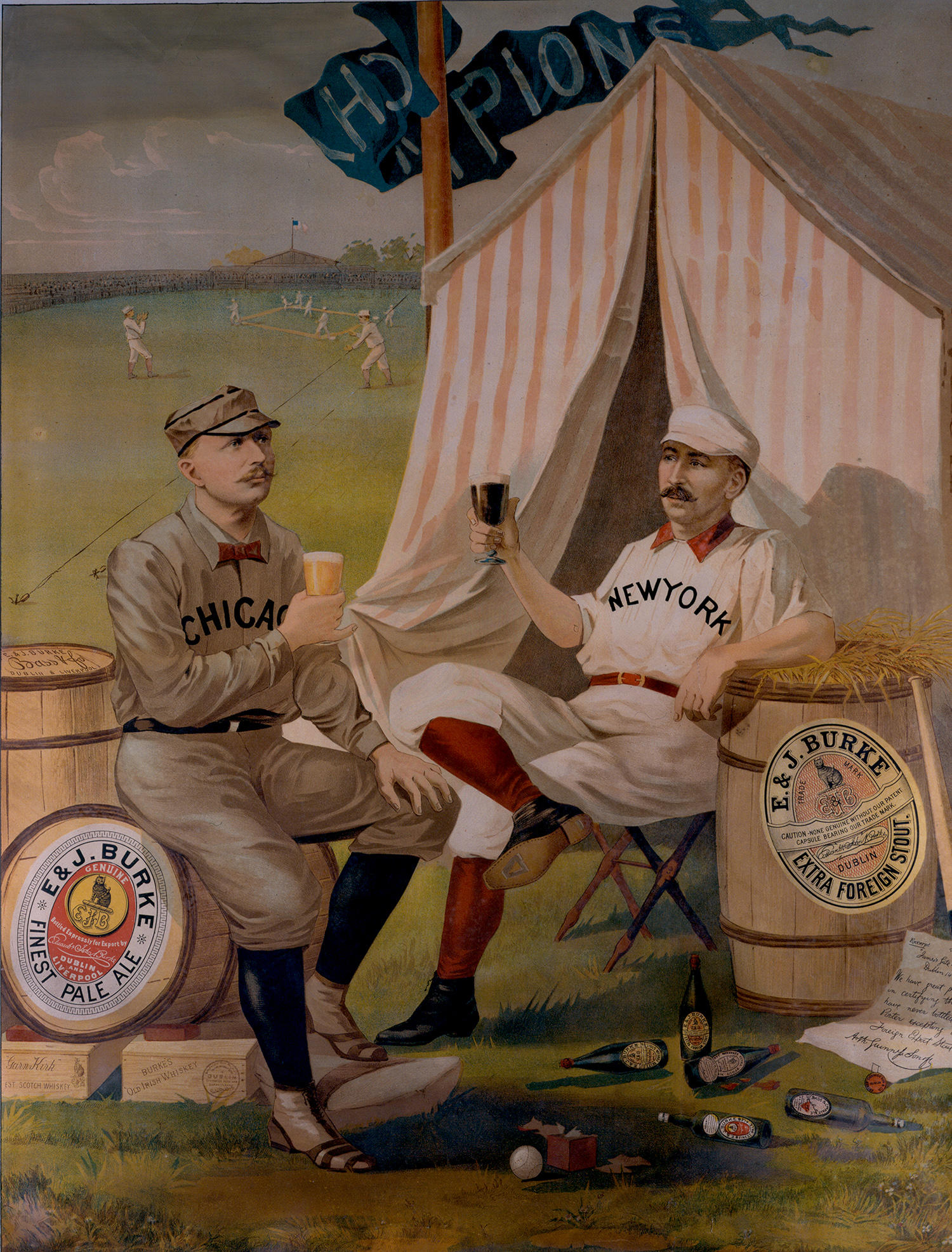 One of the first known advertisements featuring a baseball player is this 1889 lithograph depicting Hall of Famer Cap Anson (left) and New York's Buck Ewing endorsing beer from E. & J. Burke. (National Baseball Hall of Fame)