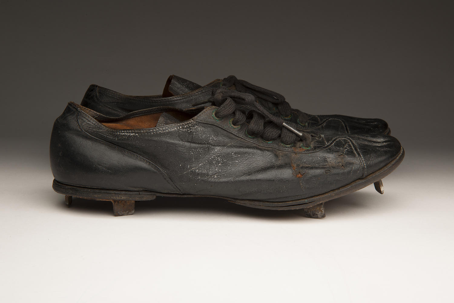 These baseball spikes worn by Cool Papa Bell are now preserved in the National Baseball Hall of Fame's collection. (Milo Stewart Jr. / National Baseball Hall of Fame)
