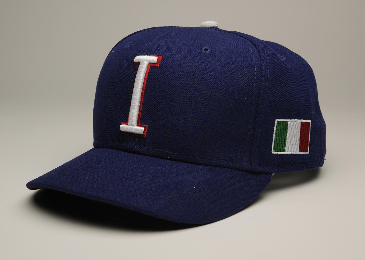 Mike Piazza donned this hat for Team Italy when he served as their batting coach in the 2013 World Baseball Classic. (Milo Stewart Jr. / National Baseball Hall of Fame)