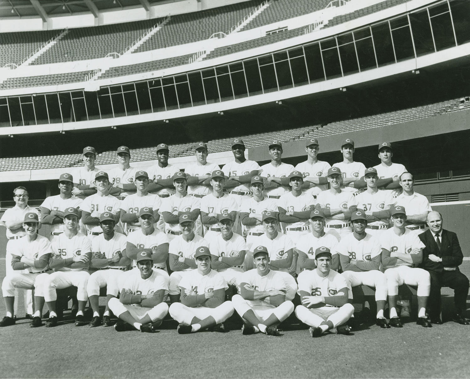 """Tommy Helms, who played for the Cincinnati Reds from 1964-1971, helped contribute to their National League pennant win in 1970. In this team photo from that year, Helms sits seventh from the left in the third row. <a href=""""https://collection.baseballhall.org/PASTIME/cincinnati-reds-team-photograph-1970"""">PASTIME</a> (National Baseball Hall of Fame and Museum)"""
