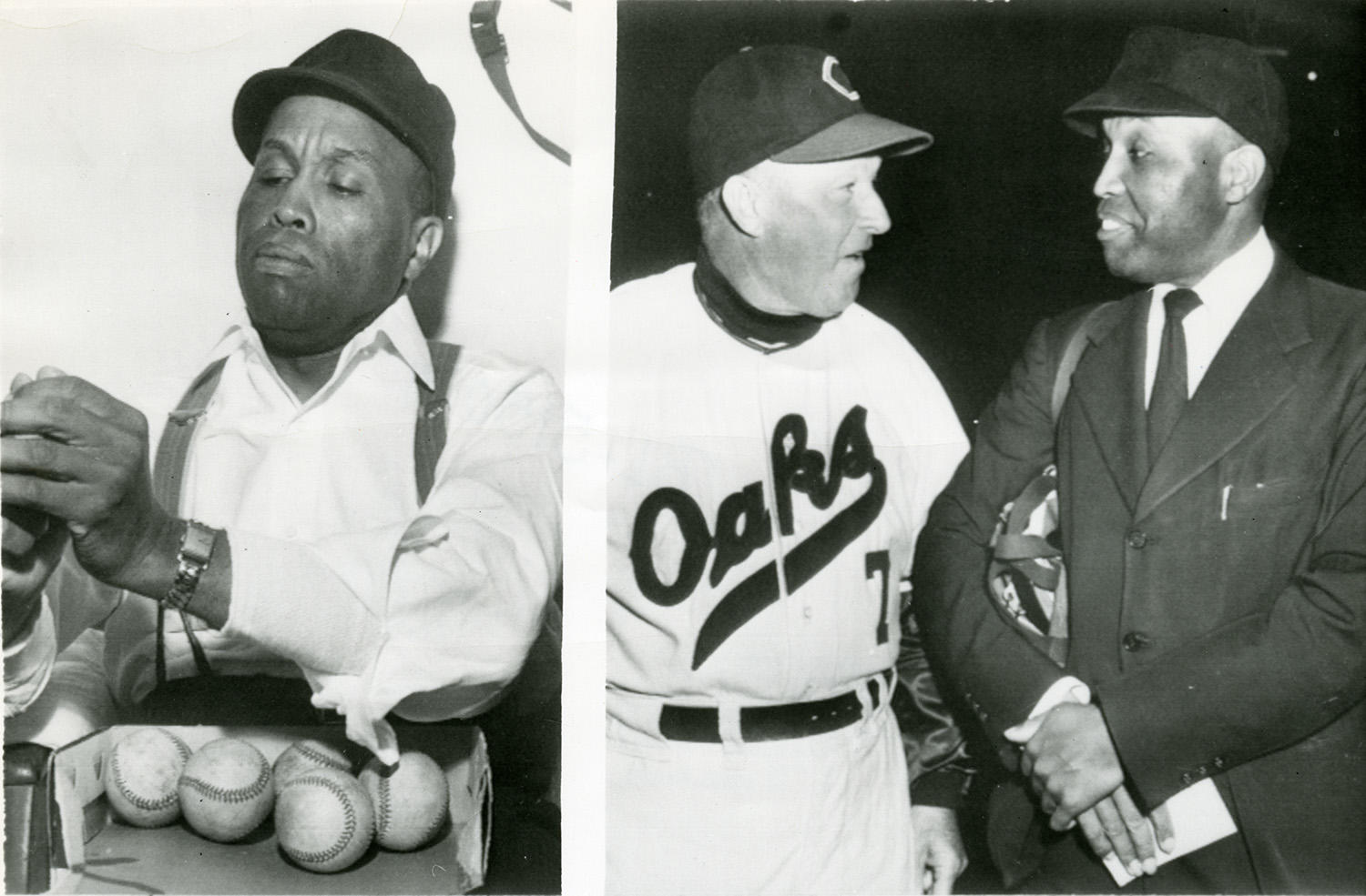"""On the left, Emmett Ashford roughens up baseballs before a game. On the right, he talks with Oakland Oaks manager Charlie Dressen. <a href=""""http://collection.baseballhall.org/islandora/object/islandora%3A298344"""">PASTIME</a> (National Baseball Hall of Fame and Museum)"""