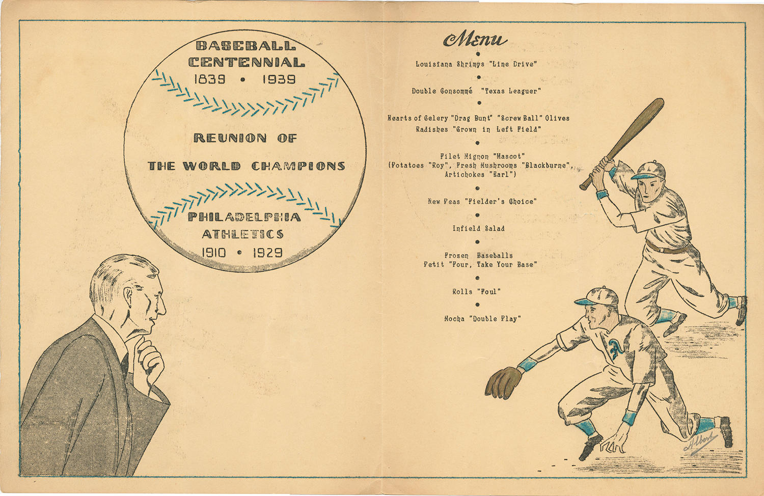 """Following their """"Reunion of World Champions,"""" the Philadelphia Athletics hosted a reunion dinner at Philadelphia's Hotel Warwick which featured a baseball-themed menu. <a href=""""https://collection.baseballhall.org/PASTIME/philadelphia-athletics-reunion-menu-1939-september-10#page/1/mode/1up"""">PASTIME</a> (National Baseball Hall of Fame and Museum)"""