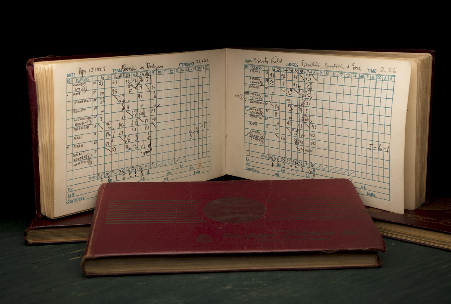 """Tom Meany, a journalist for the <em>New York World-Telegram</em>, was in attendance at Ebbets Field the day Jackie Robinson made his major league debut. He documented the game in his scorebook, now preserved in the Hall of Fame's collection. <a href=""""http://collection.baseballhall.org/islandora/object/islandora%3A506604"""">PASTIME</a> (Milo Stewart Jr. / National Baseball Hall of Fame and Museum)"""