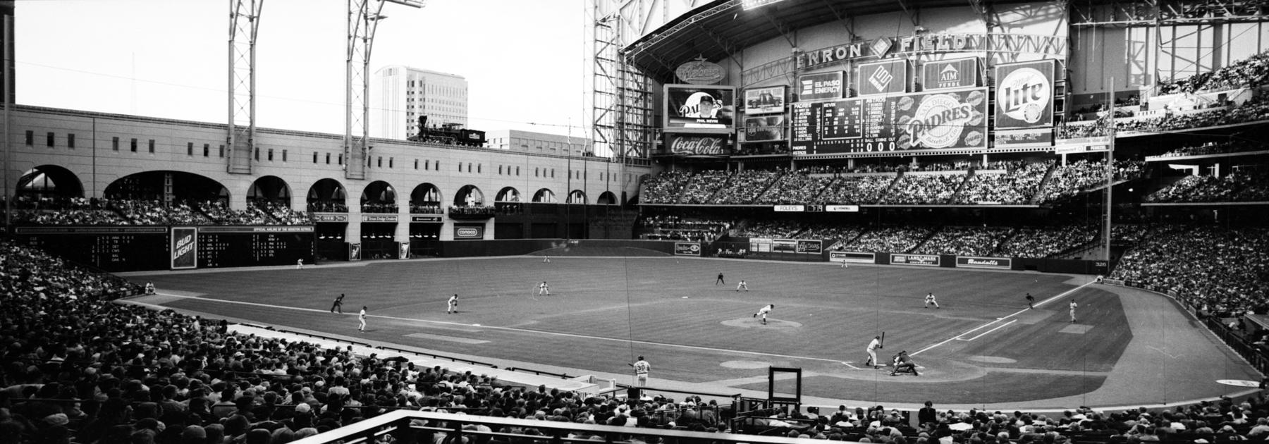 """A panoramic negative of Enron Field, now known as Minute Maid Park, taken on April 21, 2000. <a href=""""https://collection.baseballhall.org/islandora/object/islandora%3A650218"""">PASTIME</a> (Jim McKinnis/National Baseball Hall of Fame and Museum)"""