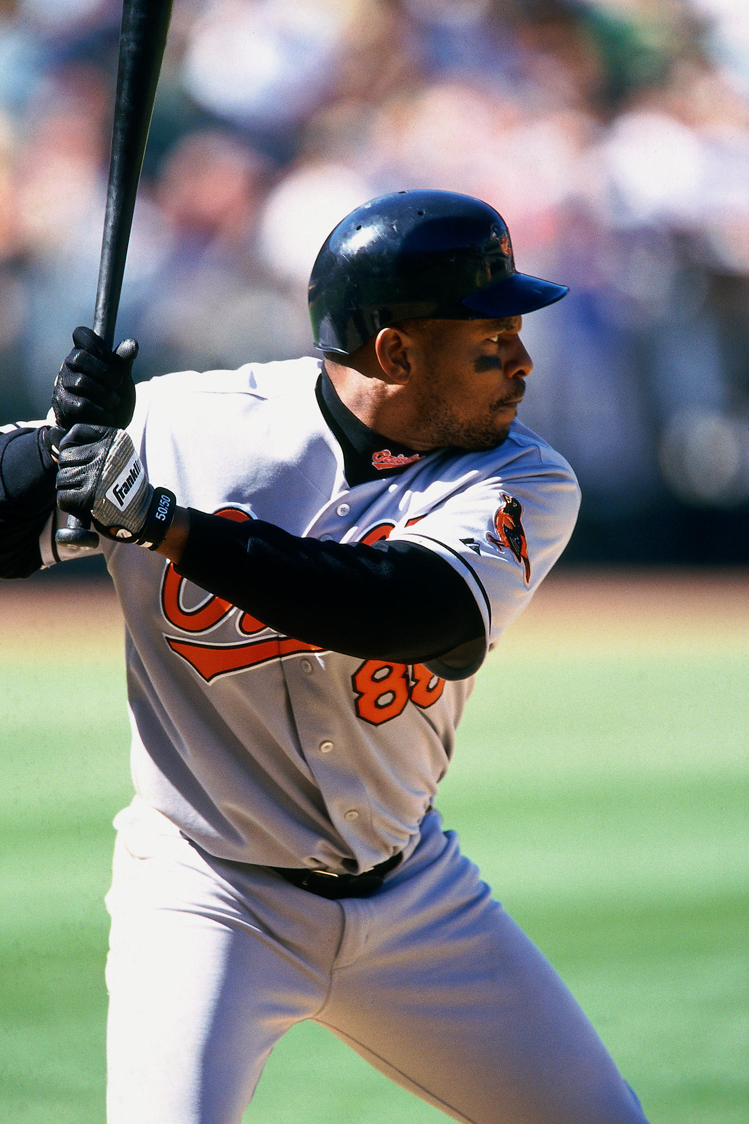 After playing for the Chicago White Sox in 1997 and 1998, Belle became a free agent and signed a five-year deal with the Orioles worth $65 million – making him the highest paid player in the AL. (Brad Mangin / National Baseball Hall of Fame)