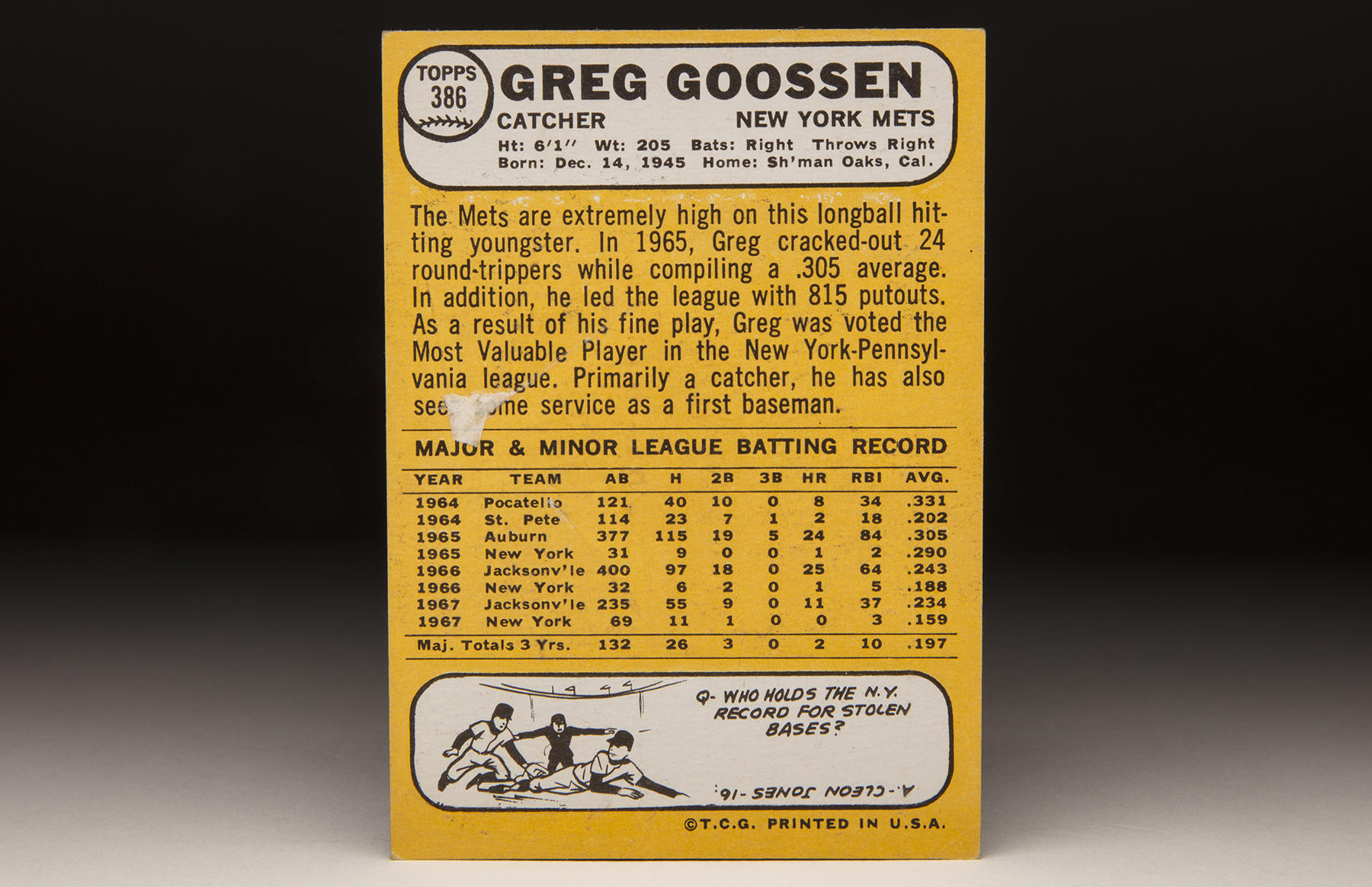 The reverse of Greg Goossen's 1968 Topps card. (Milo Stewart Jr./National Baseball Hall of Fame and Museum)