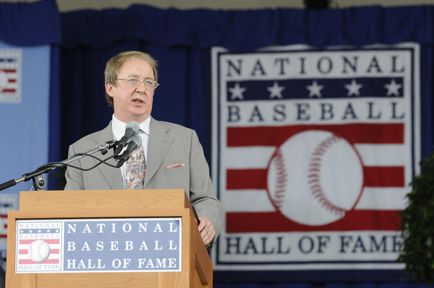 Bill Madden, pictured above at the 2010 <em>Induction Ceremony</em>, was the 61st winner of the J.G. Taylor Spink Award. Madden has recently donated papers from his journalism career to the Hall of Fame Library.  (Milo Stewart Jr. / National Baseball Hall of Fame and Museum)
