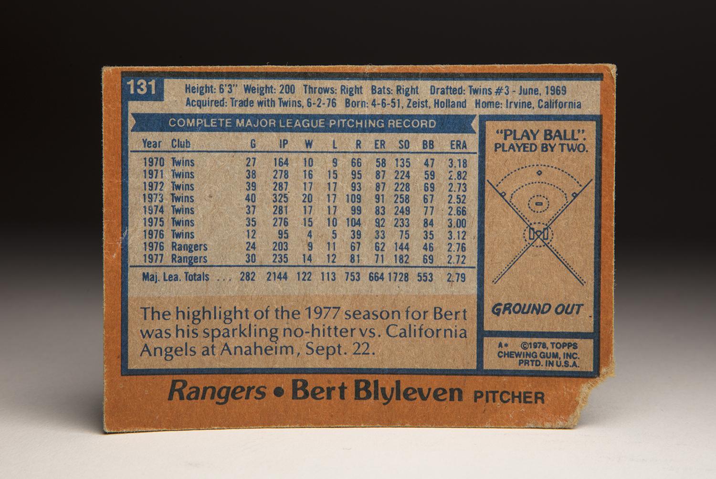 The reverse side of Bert Blyleven's 1978 Topps card. (Milo Stewart Jr. / National Baseball Hall of Fame and Museum)