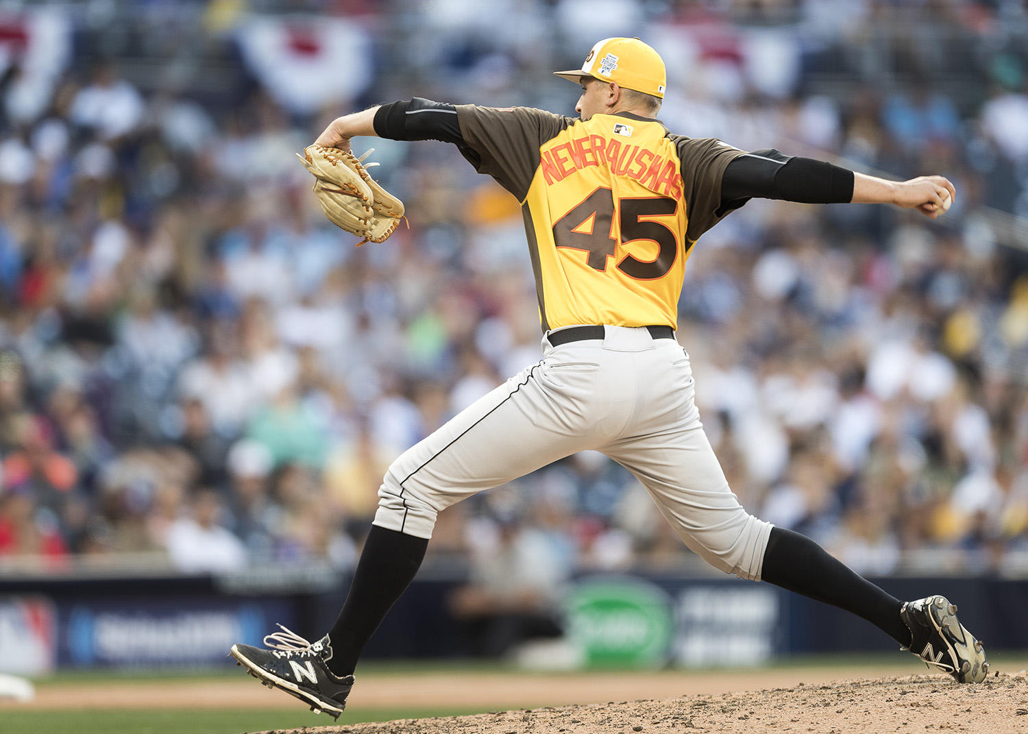 Pittsburgh Pirates prospect Dovydas Neverauskas pitches in the 2016 MLB All-Star Futures Game for Team World at Petco Park on July 10, 2016. He represented his native country by sporting a Lithuania flag patch on his sleeve. (Jean Fruth / National Baseball Hall of Fame and Museum)