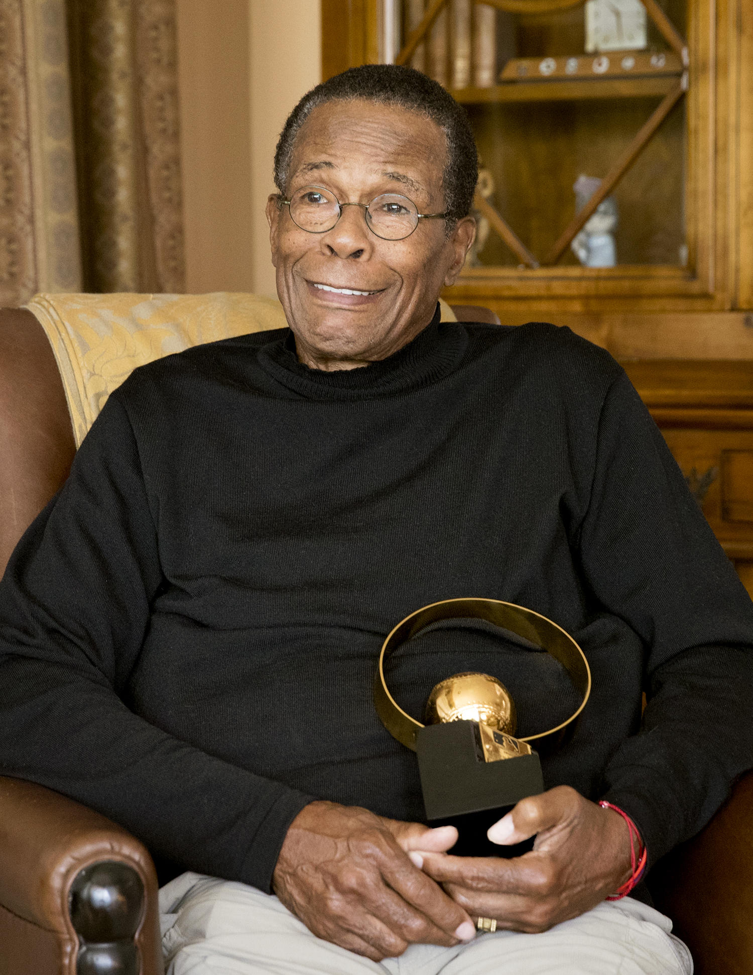 Rod Carew cherishes his 1977 AL MVP Award, but it's another trophy from that year – the Roberto Clemente Award – that has become Carew's favorite. (Jean Fruth / National Baseball Hall of Fame)