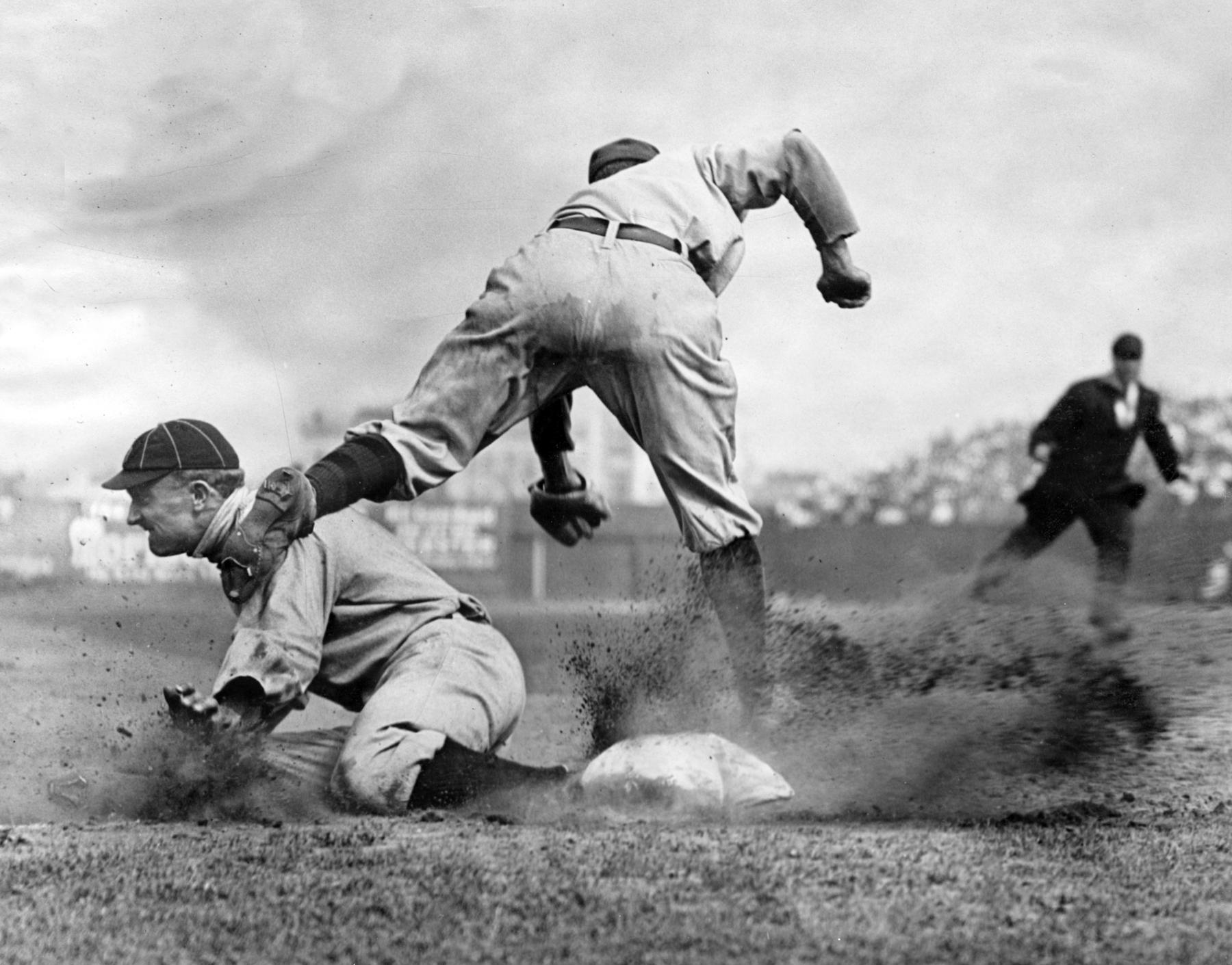 One of Charles Conlon's most enduring photographs was also one of his first - this iconic image of Ty Cobb taken on July 23, 1910. Conlon was on the field, standing behind third base, when he snapped the photo. BL-669-83 (Charles M. Conlon / National Baseball Hall of Fame Library)